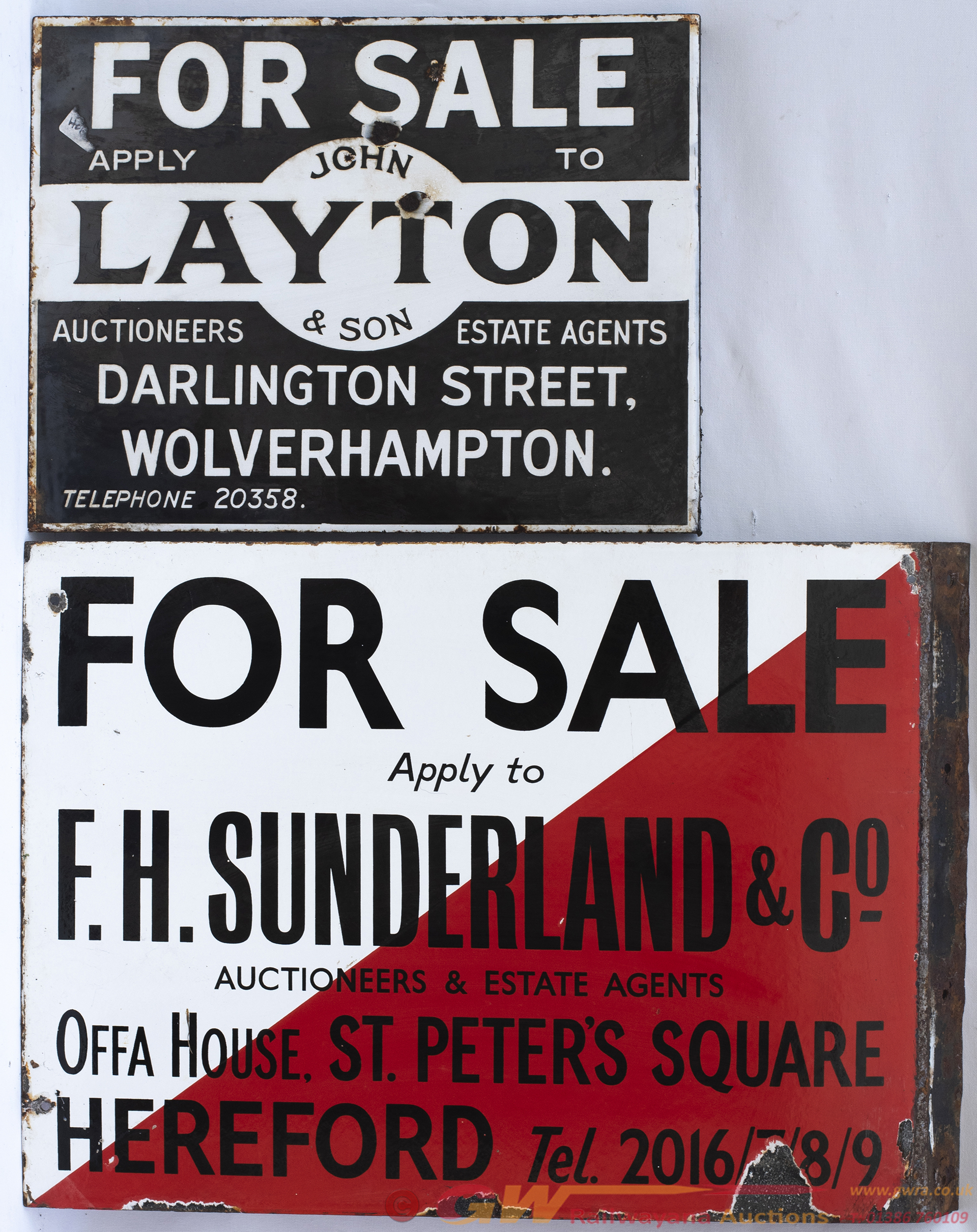 Advertising Enamel Estate Agents Signs x2; FOR