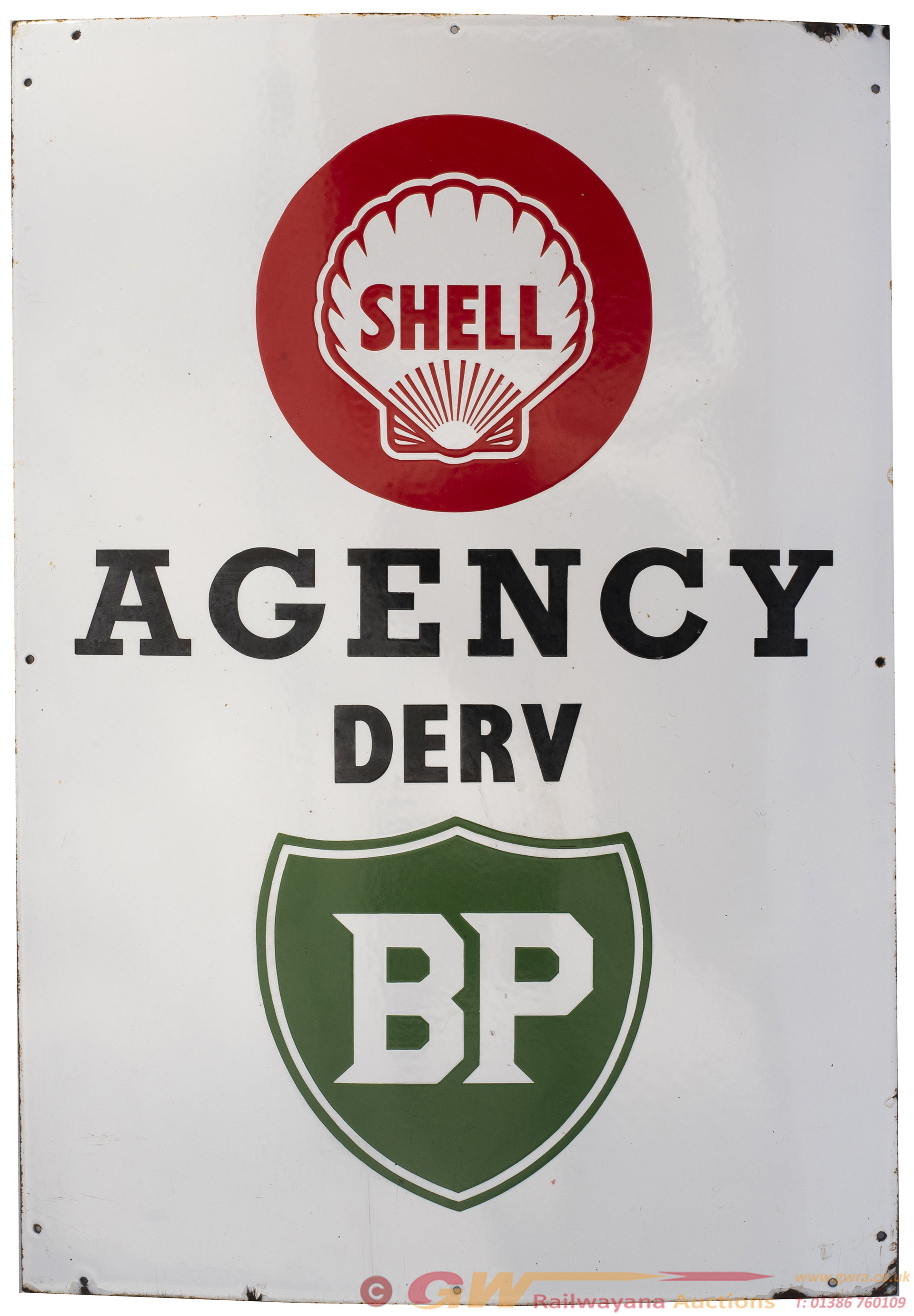 Advertising Enamel Sign SHELL AGENCY DERV BP