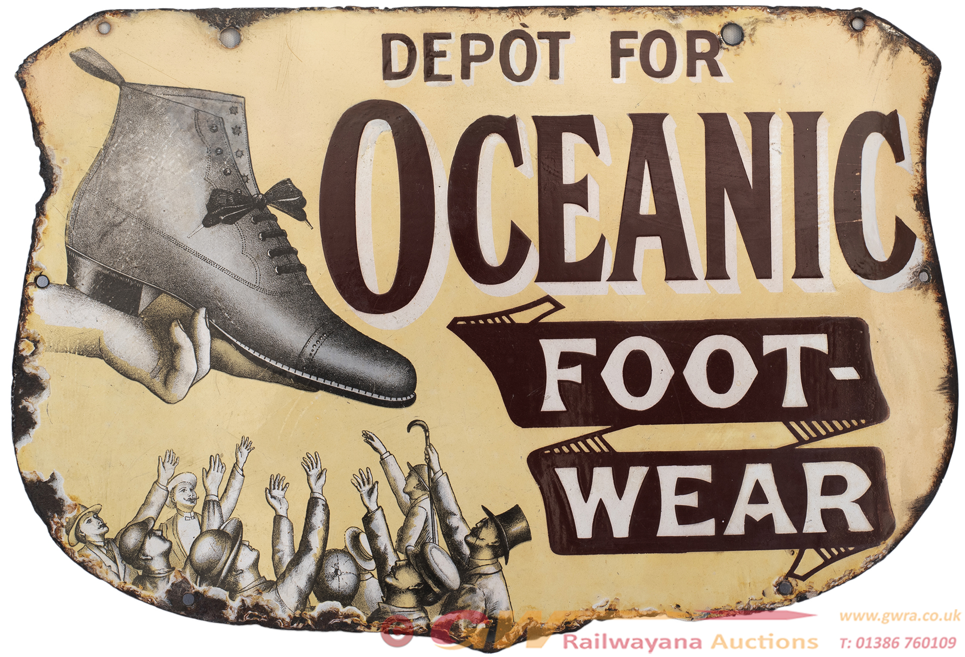 Advertising Enamel Sign DEPOT FOR OCEANIC FOOTWEAR
