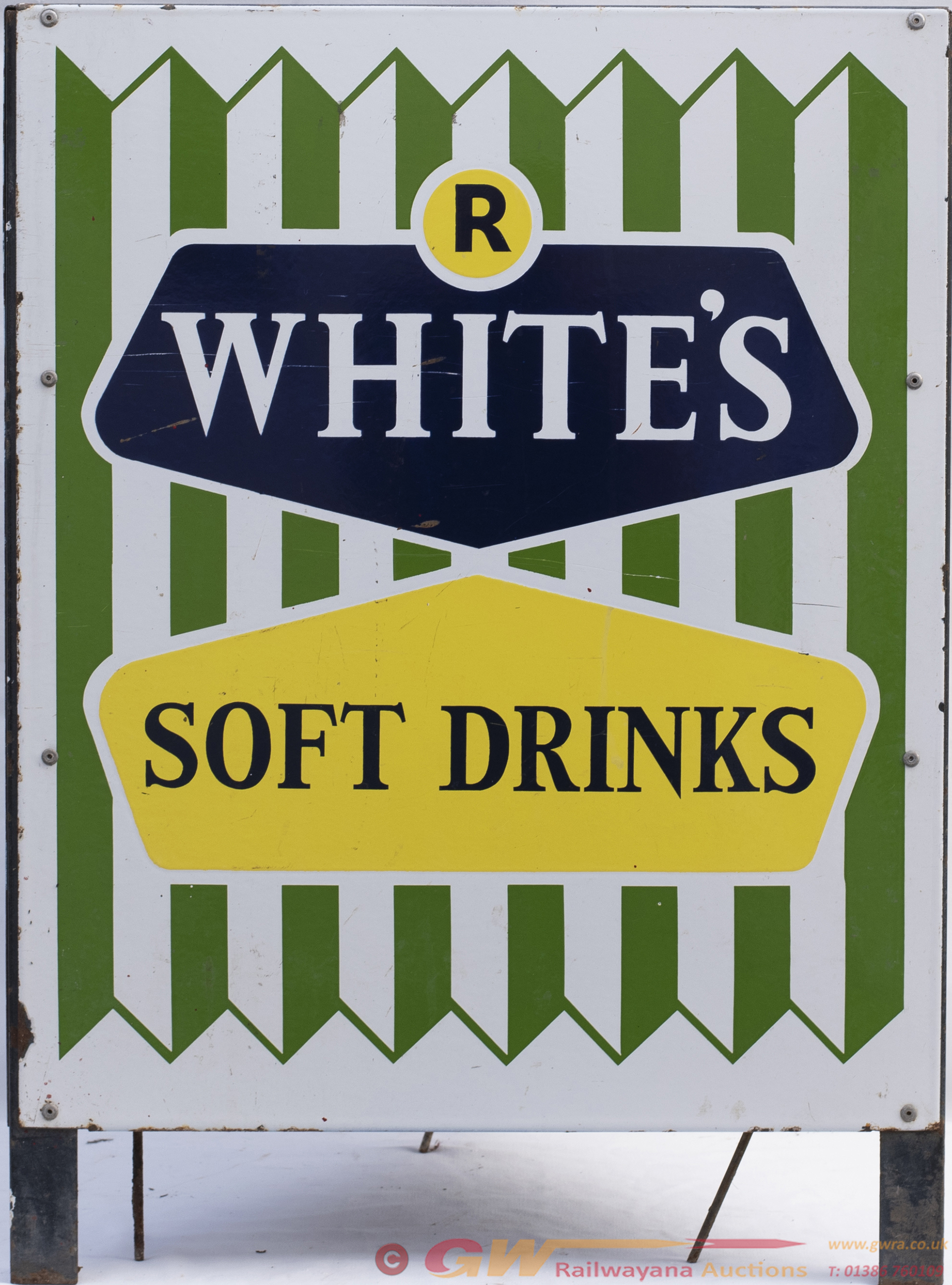 Advertising Enamel Wastebin R. WHITES SOFT DRINKS.