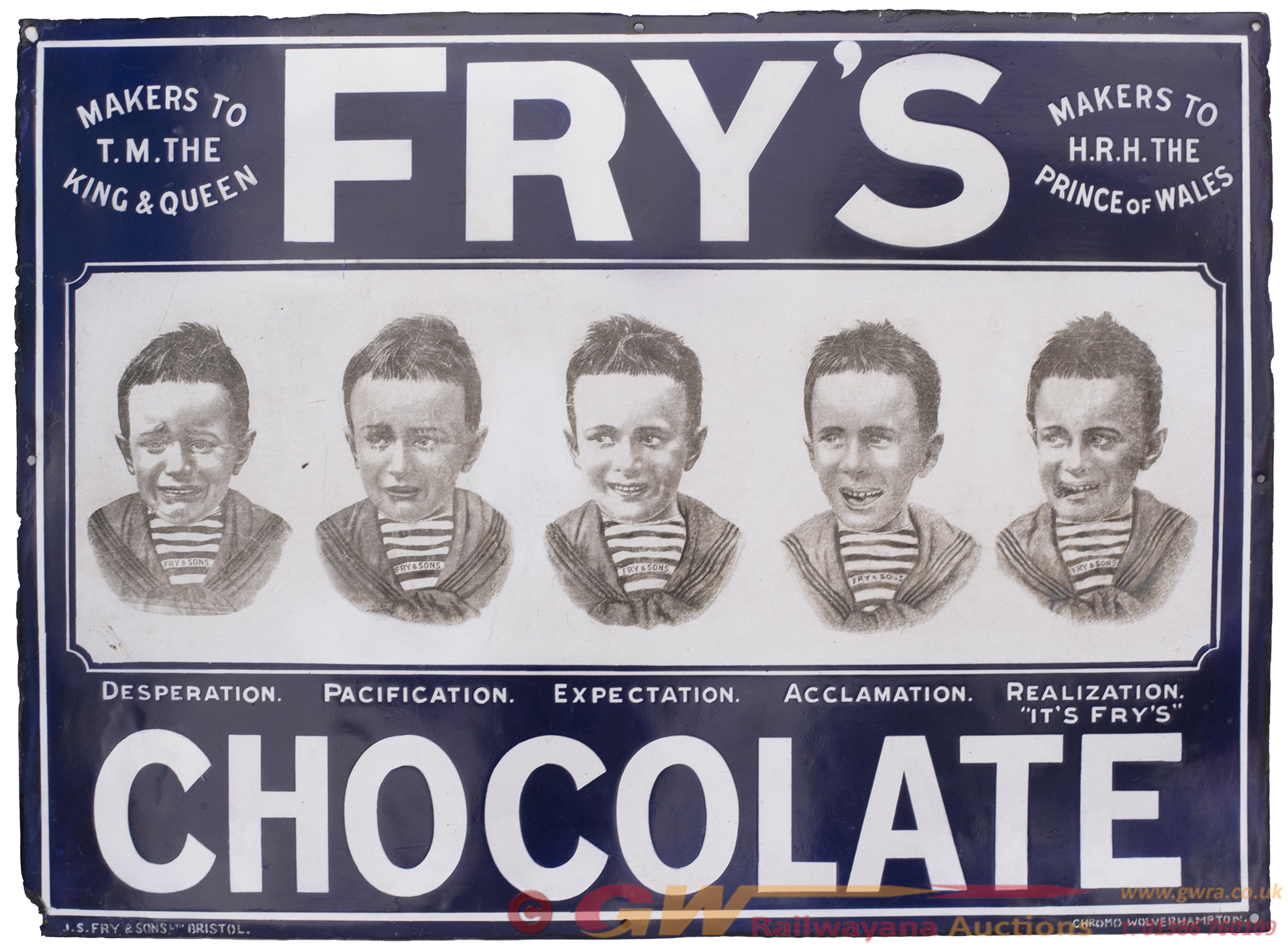 Advertising Enamel Sign FRY'S CHOCOLATE MAKERS TO
