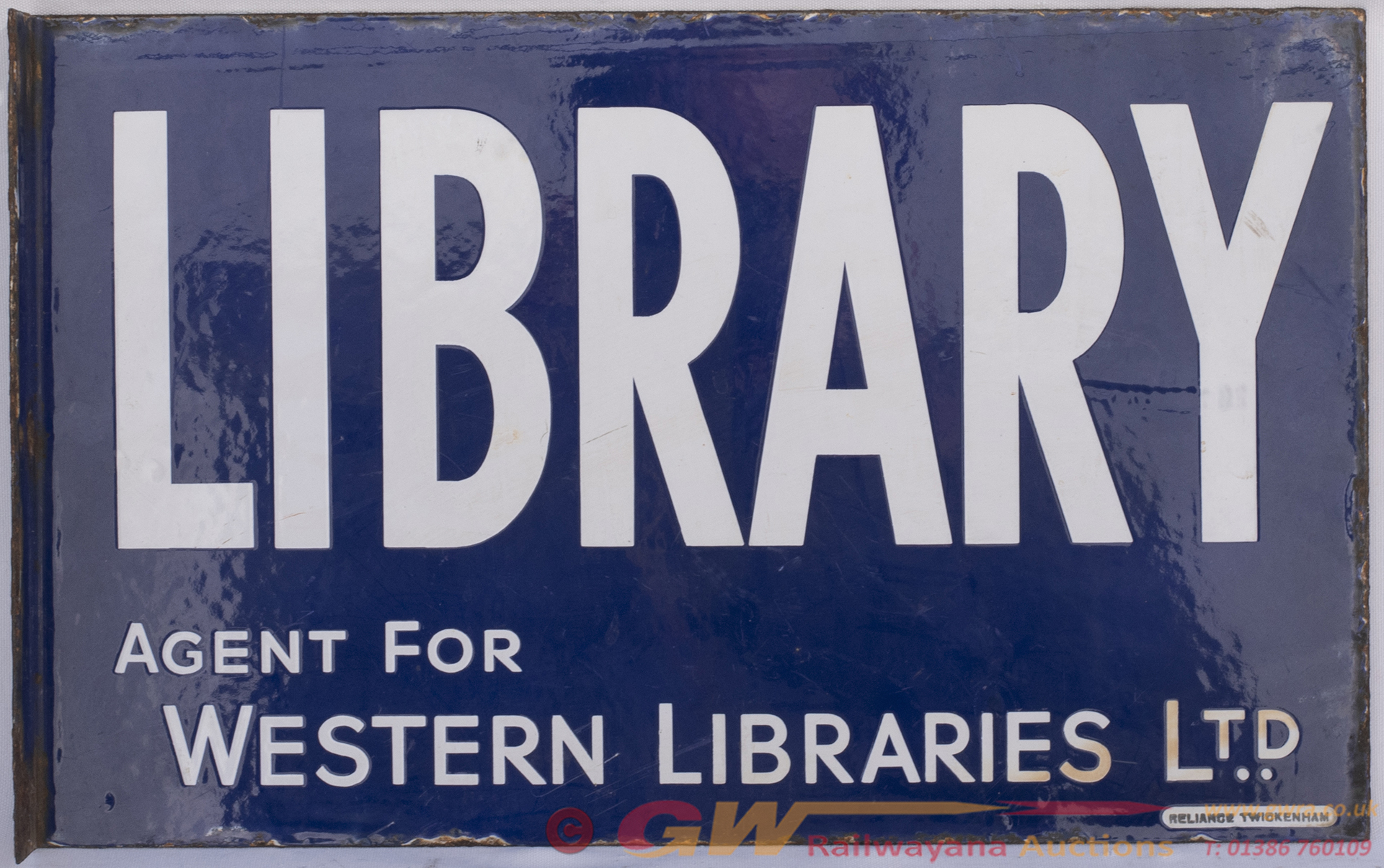 Advertising Enamel Sign LIBRARY AGENT FOR WESTERN