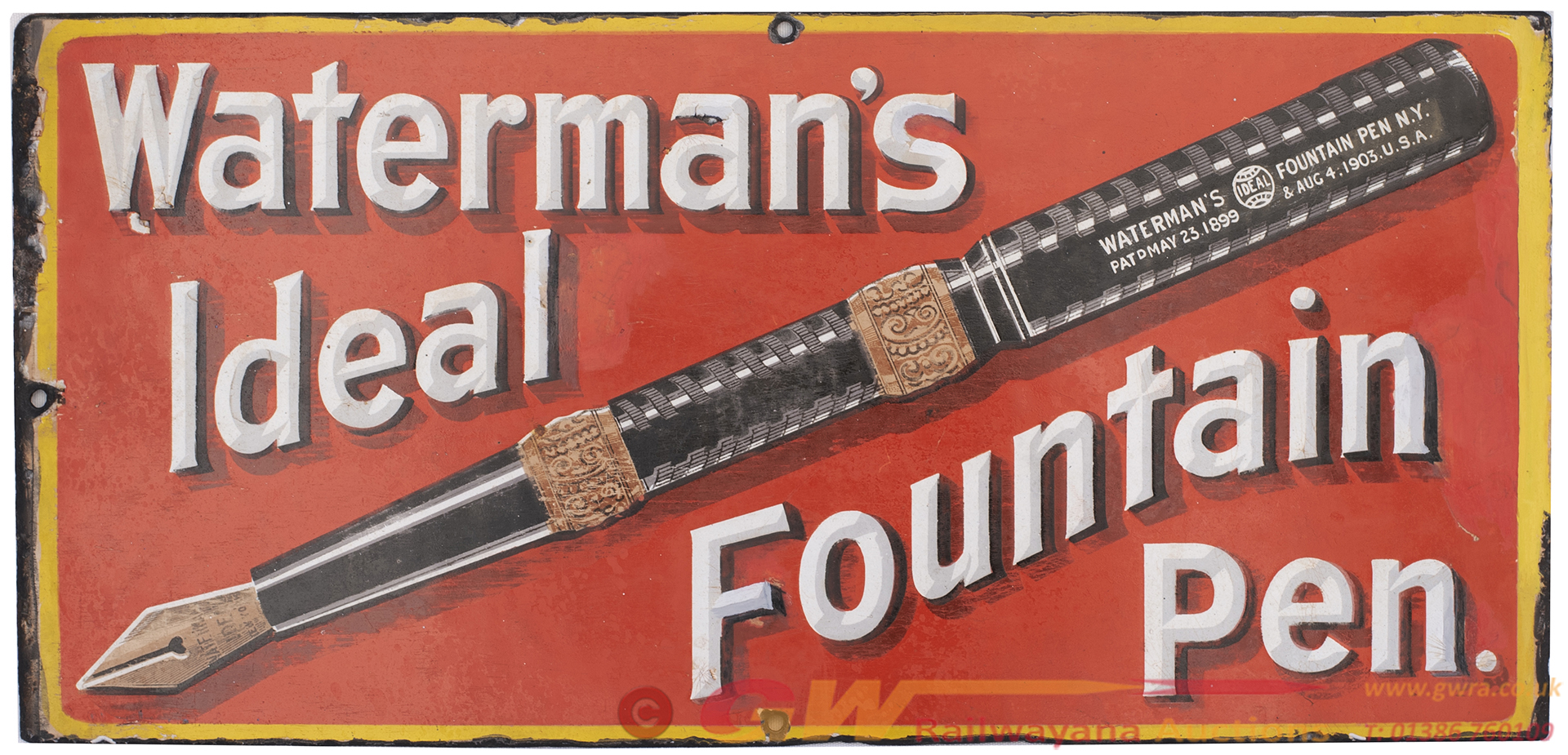 Advertising Enamel Sign WATERMAN'S IDEAL FOUNTAIN