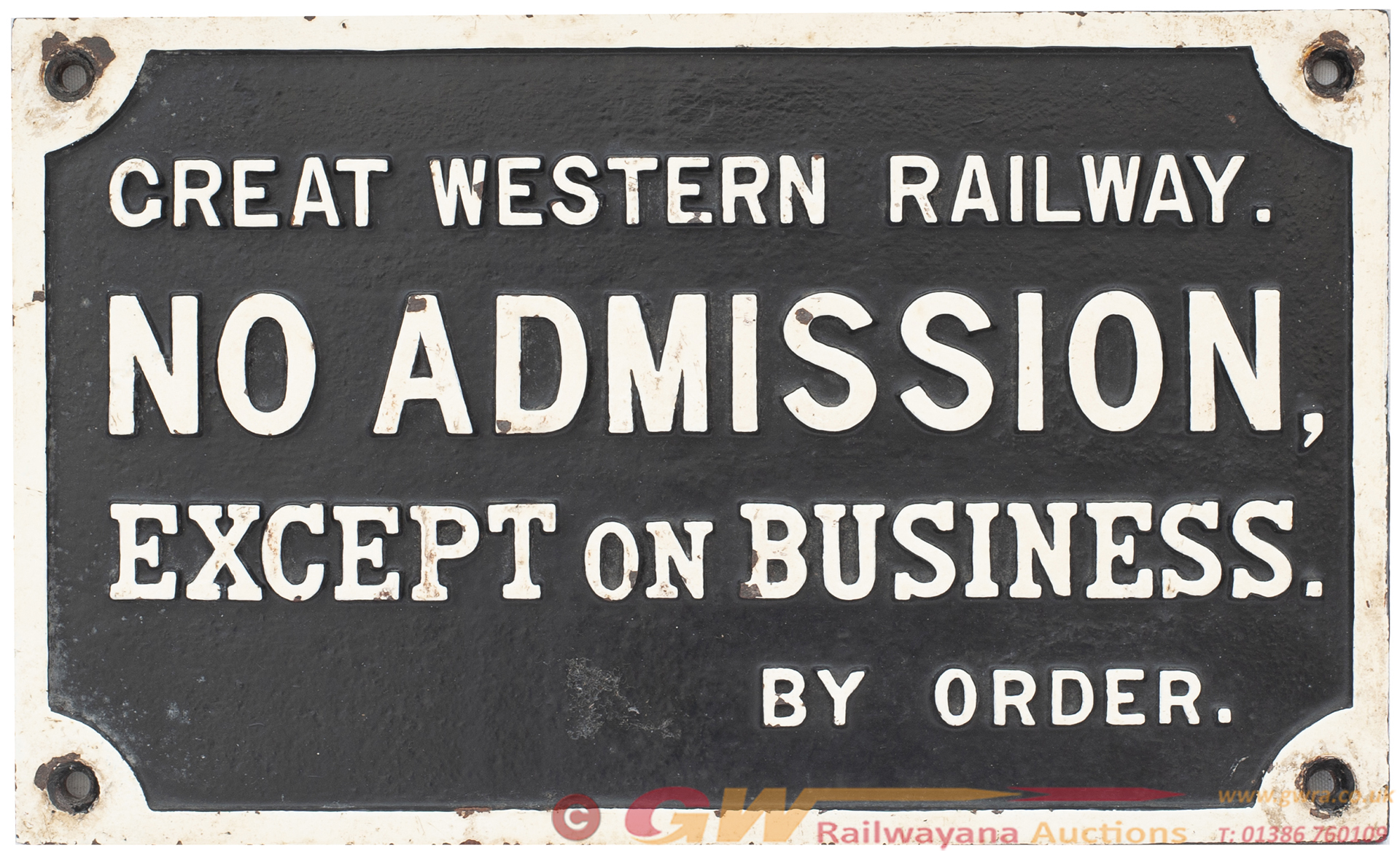 GWR Cast Iron Sign GREAT WESTERN RAILWAY NO