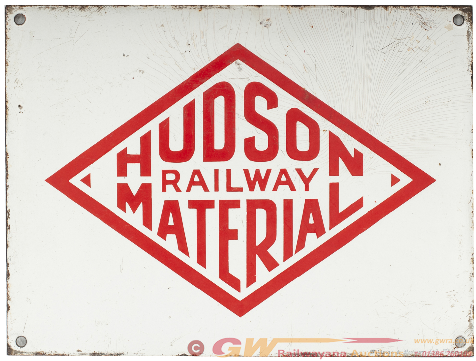 Enamel Sign HUDSON RAILWAY MATERIAL. From Robert