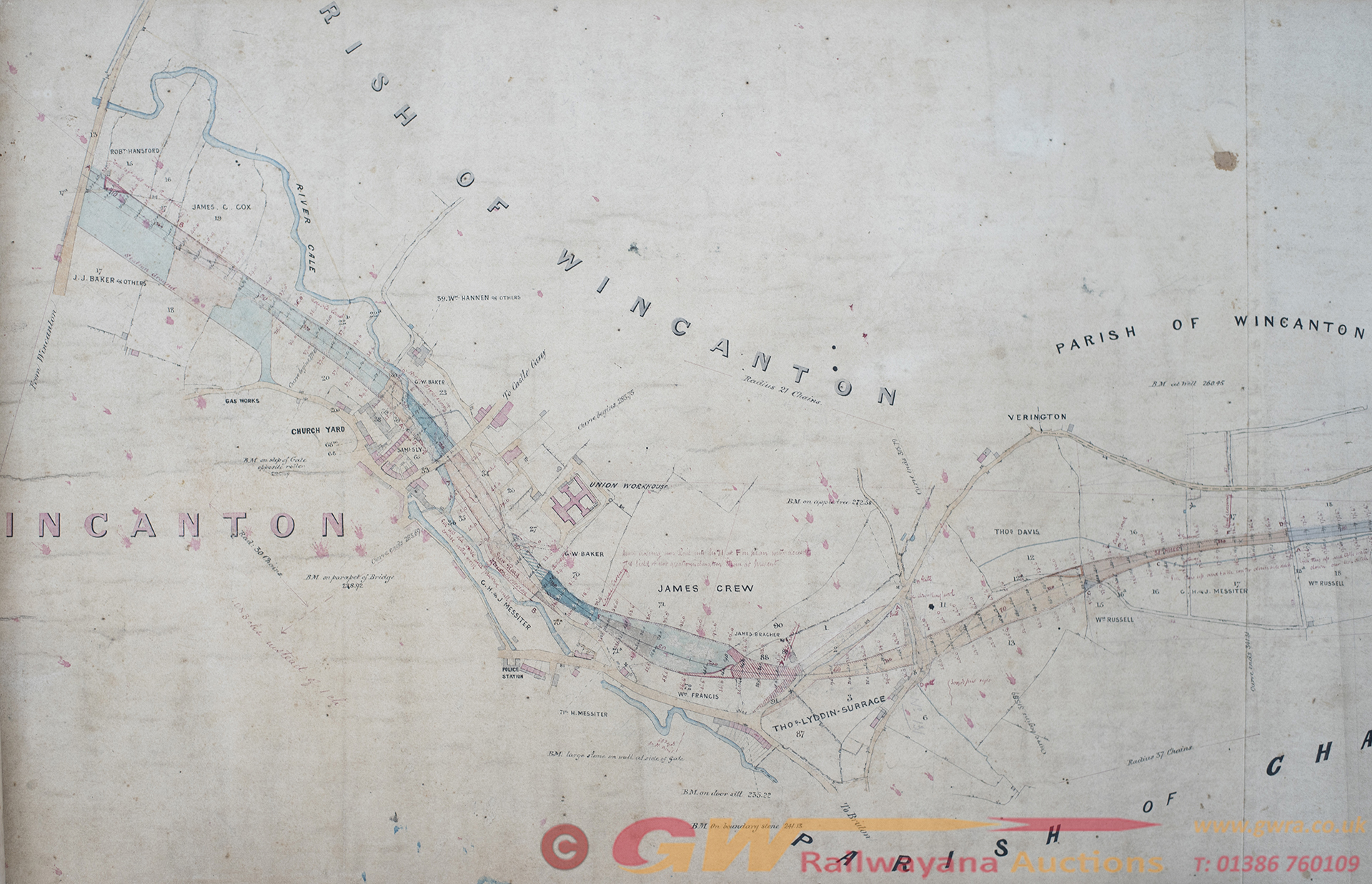 Dorset Central Railway Official Hand Coloured Plan