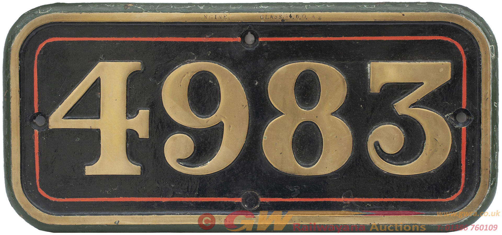 Great Western Railway Brass Cabside Numberplate