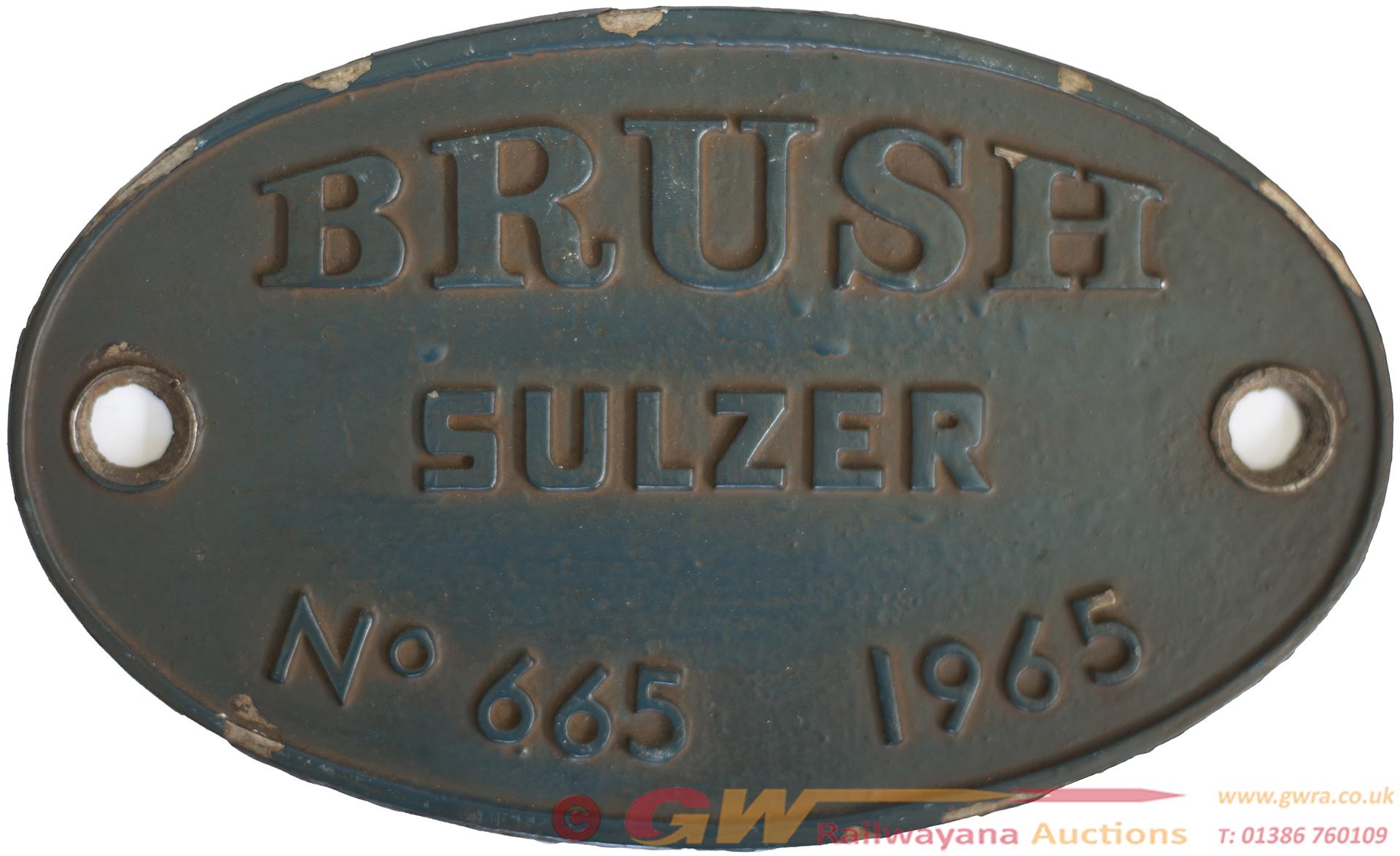 Worksplate BRUSH SULZER No 665 1965 Ex British
