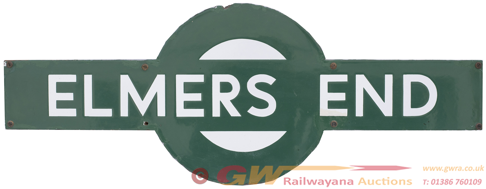 Southern Railway Enamel Target Station Sign ELMERS