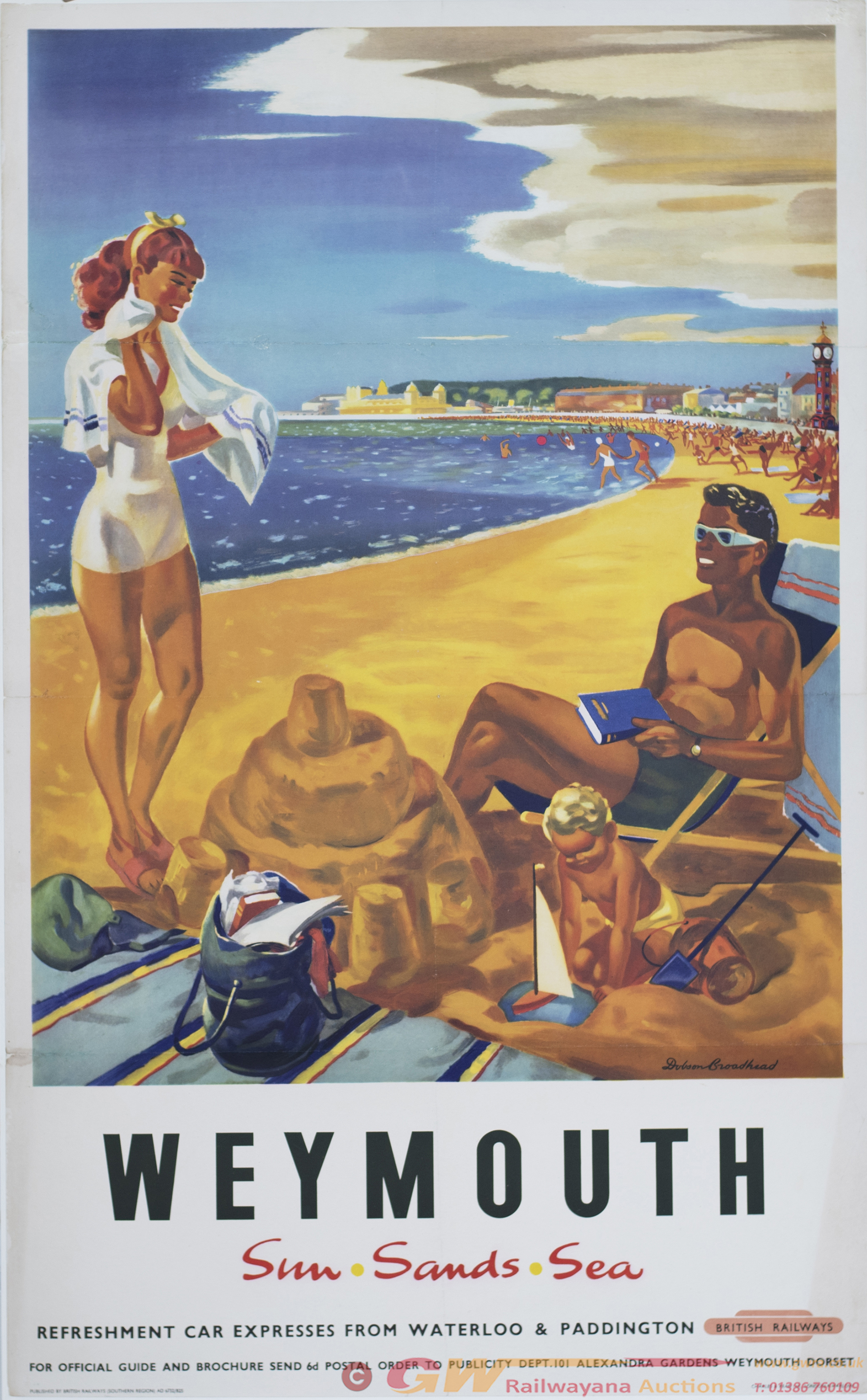 Poster BR(S) WEYMOUTH SUN SANDS SEA By Dobson
