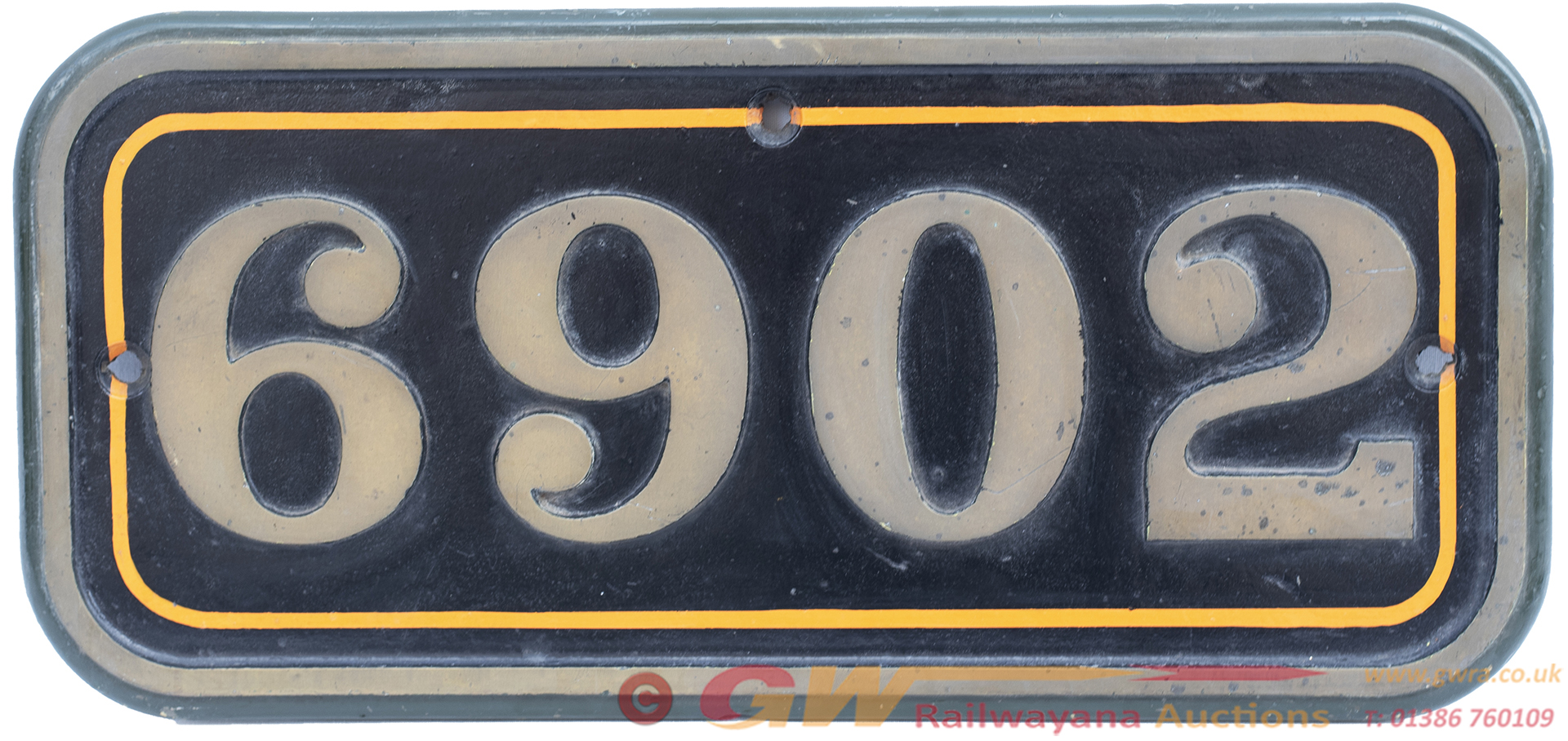 Cabside Numberplate 6902 Ex GWR Hall 4-6-0 Butlers