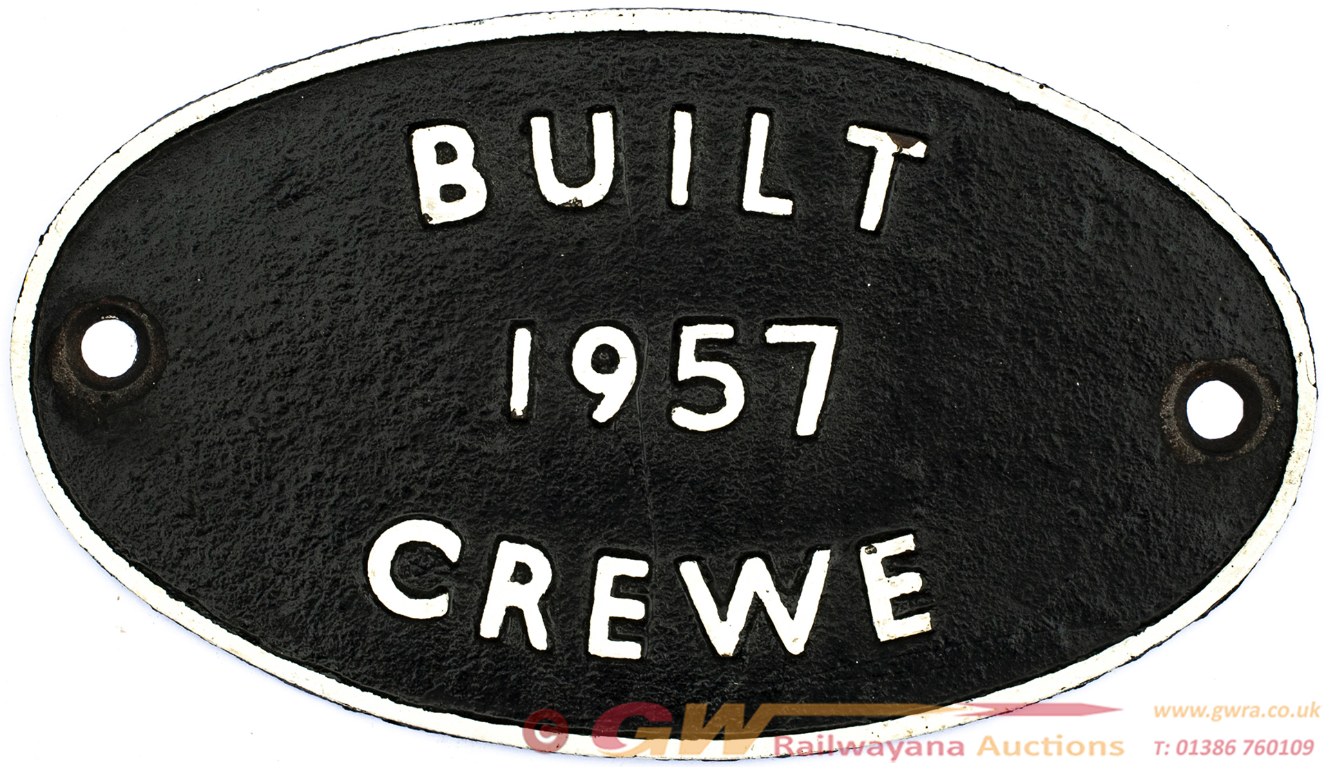 Worksplate BUILT CREWE 1957 Ex British Railways