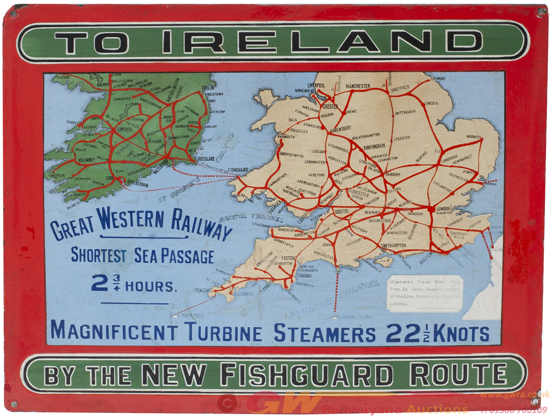 GWR Pictorial Enamel Map TO IRELAND BY THE NEW