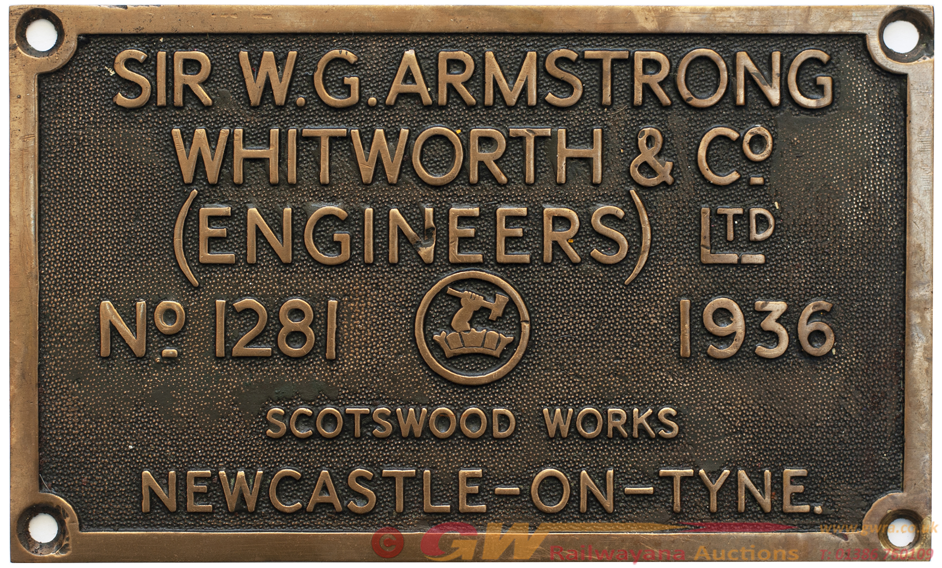 Worksplate SIR W. G. ARMSTRONG WHITWORTH & CO