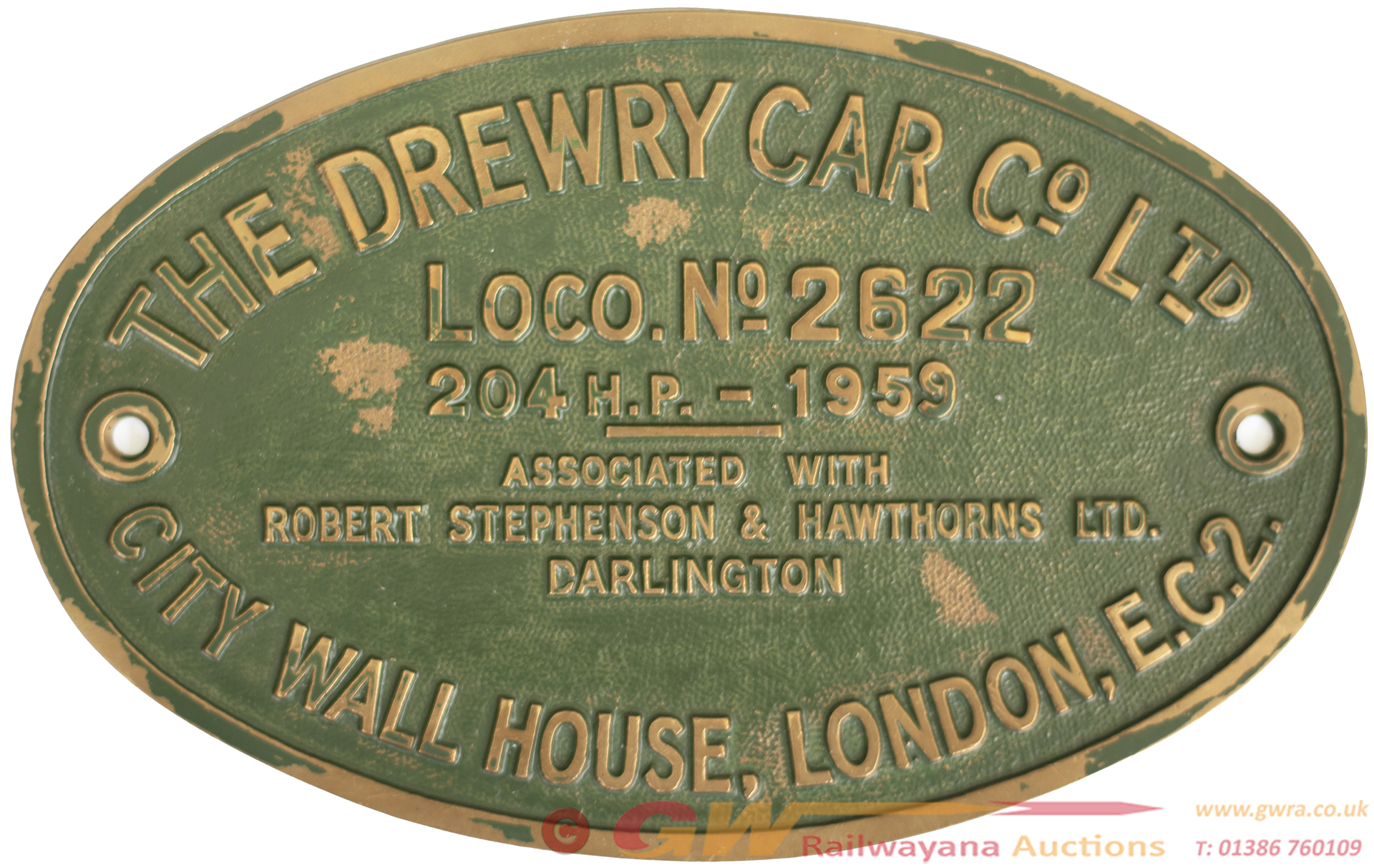Worksplate THE DREWRY CAR CO LTD CITY WALL HOUSE
