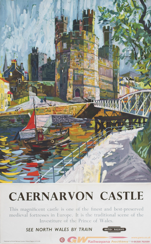 Poster BR(M) CAERNARVON CASTLE By Hugh Chevins.