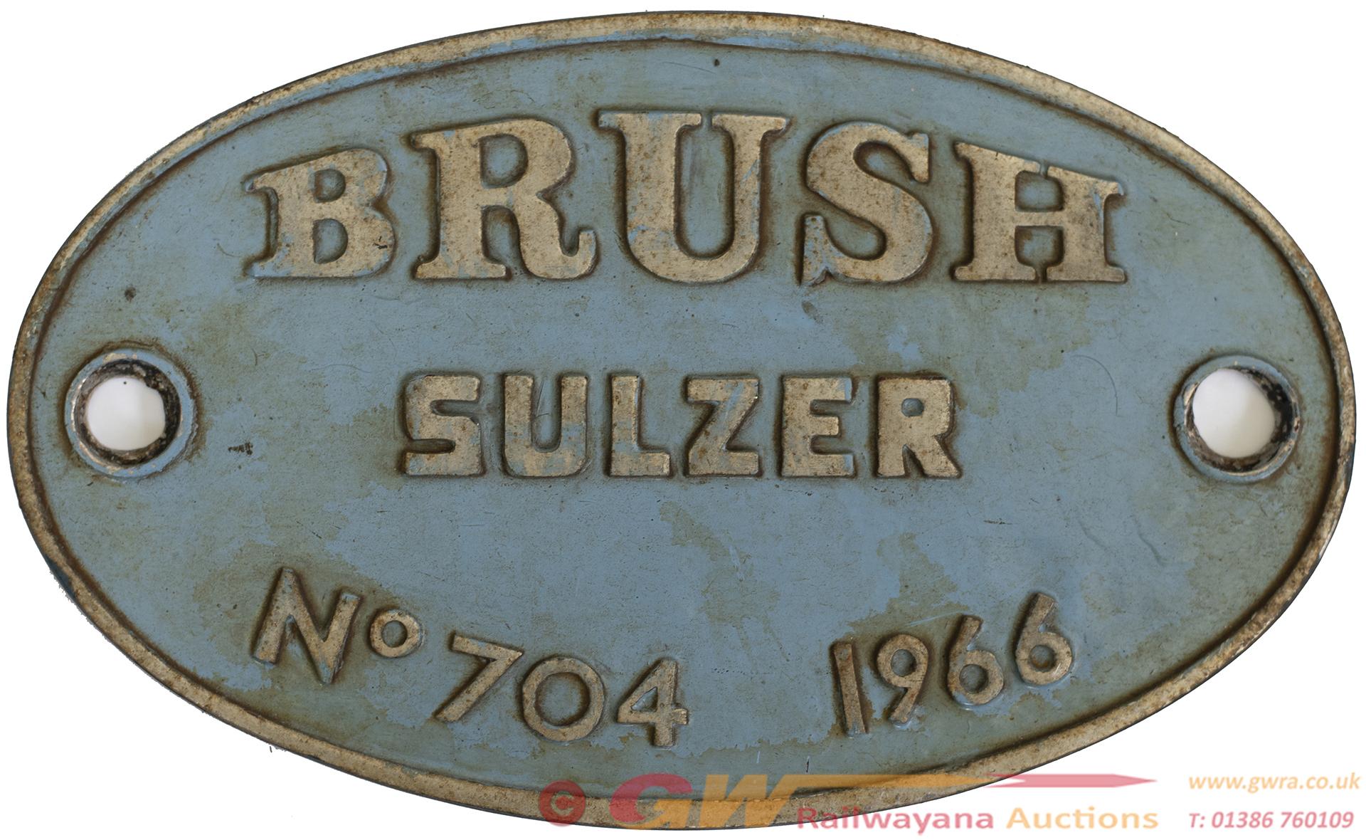 Worksplate BRUSH SULZER No 704 1966. These Were