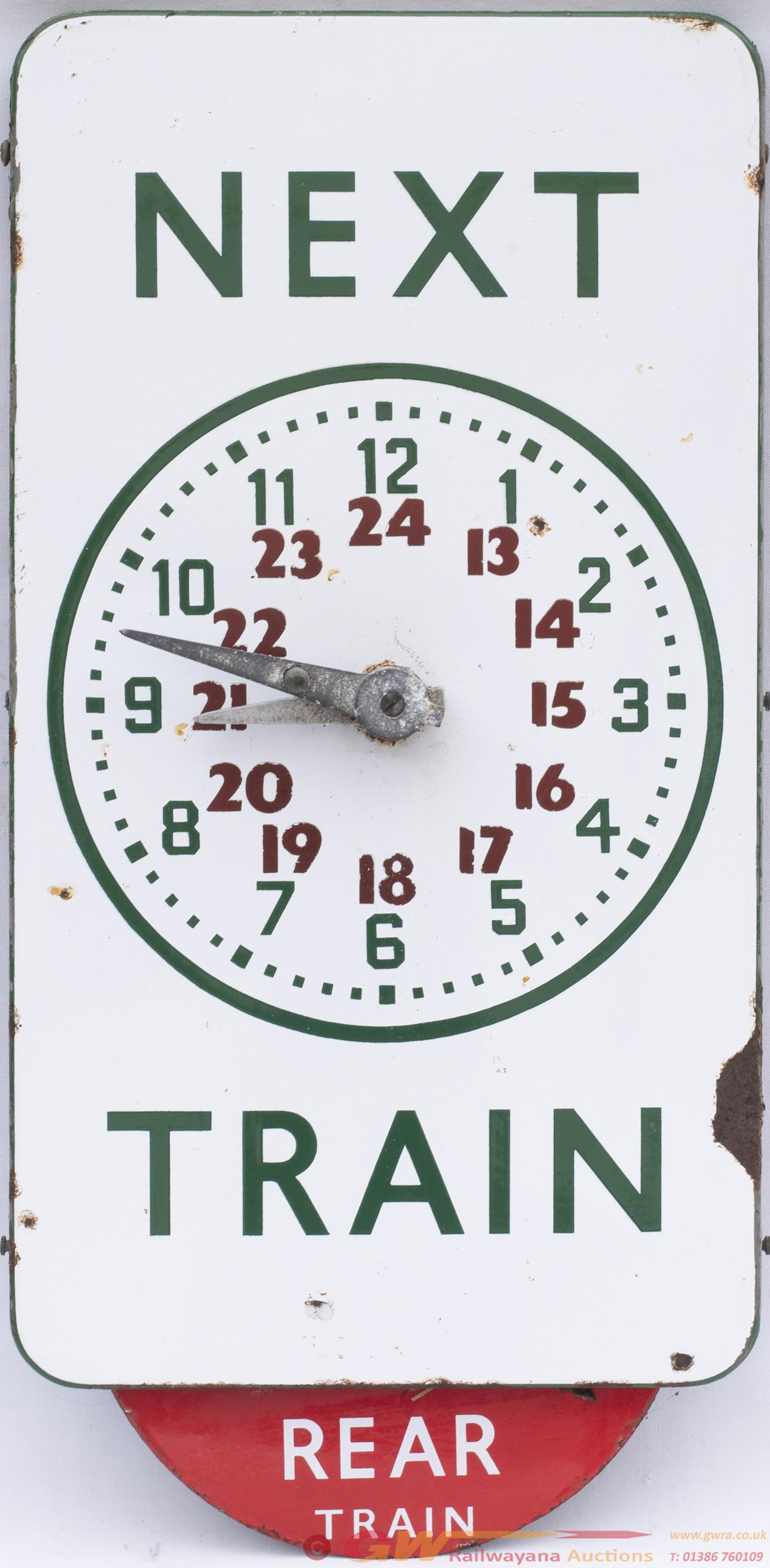 BR(S) FF Enamel Departure Time Clock NEXT TRAIN