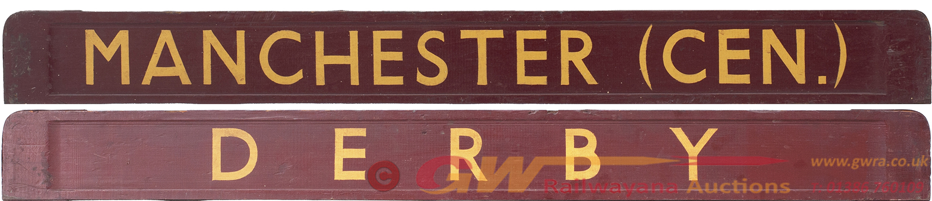 BR(M) Carriage Board MANCHESTER DERBY. Wood