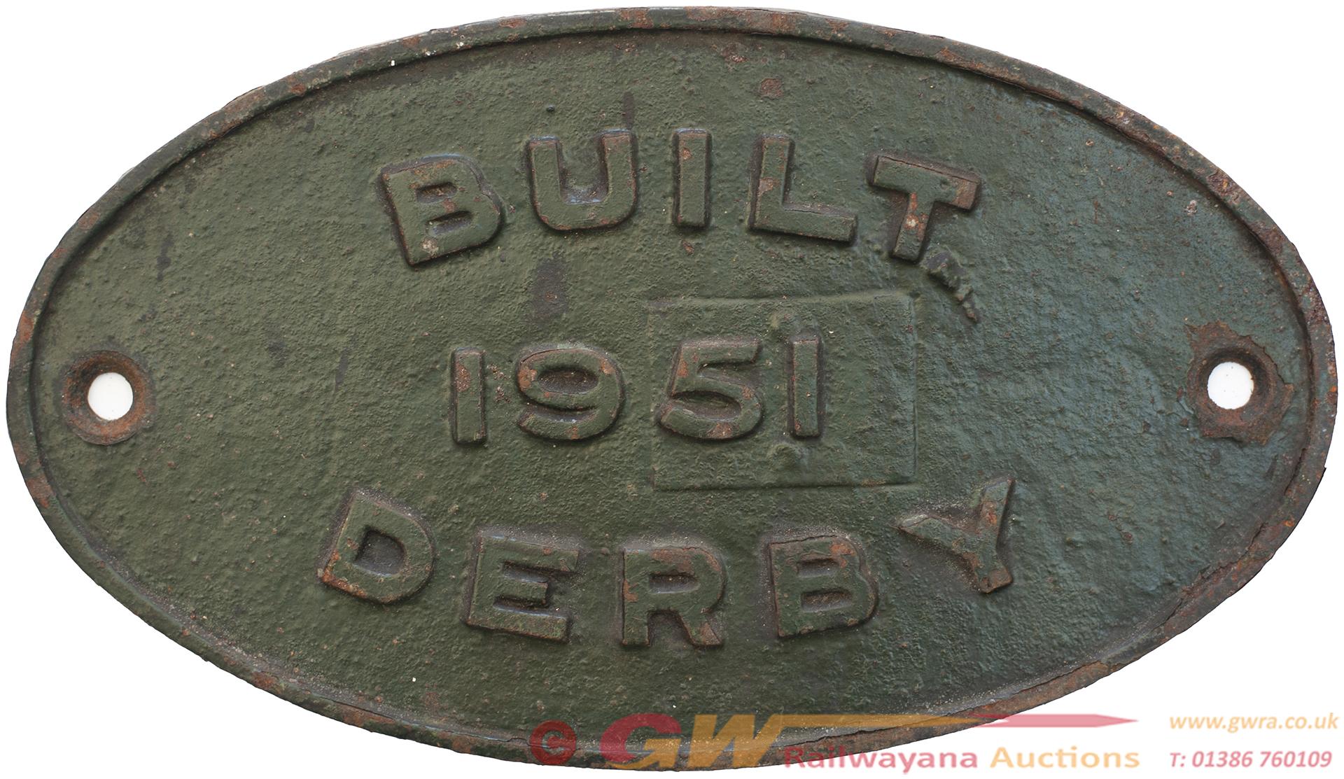 Worksplate BUILT 1951 DERBY Ex British Railways