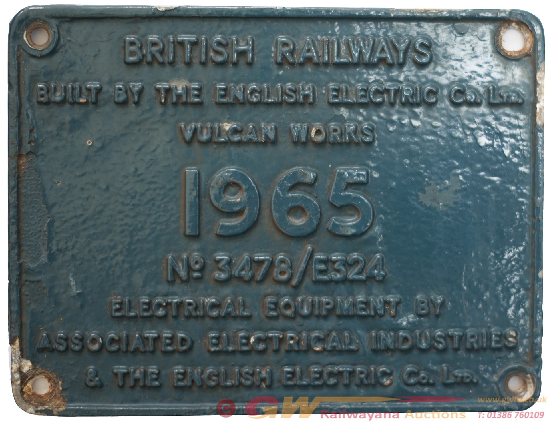 Worksplate BRITISH RAILWAYS DONCASTER 1965 No