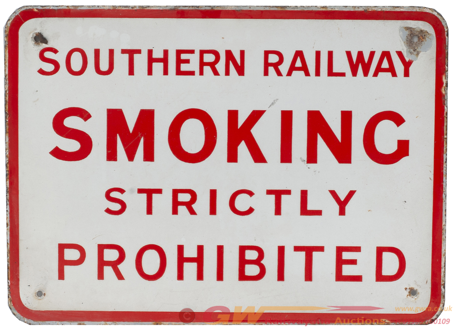 SR Enamel Sign SOUTHERN RAILWAY SMOKING STRICTLY