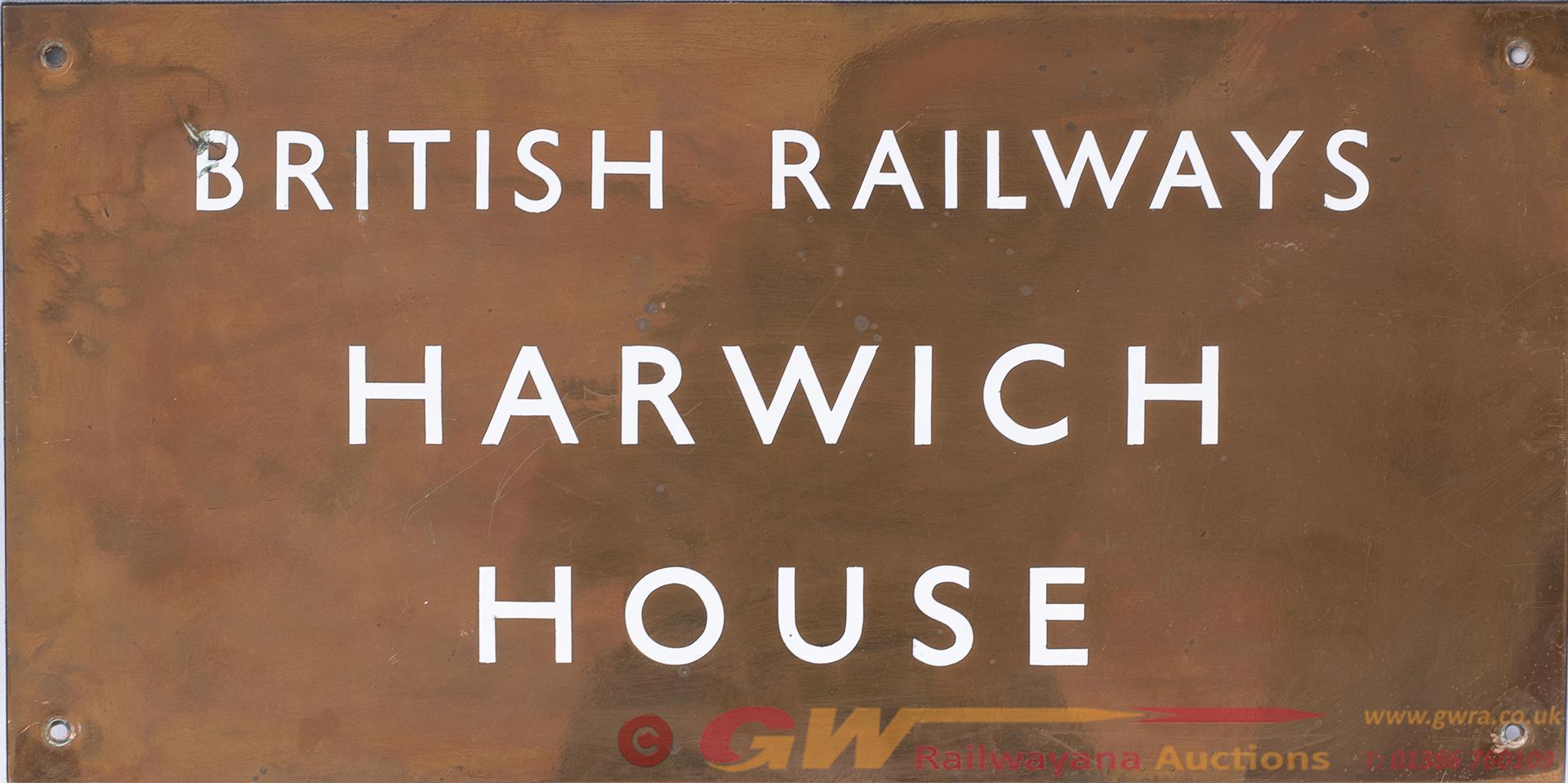 Brass Doorplate BRITISH RAILWAYS HARWICH HOUSE.