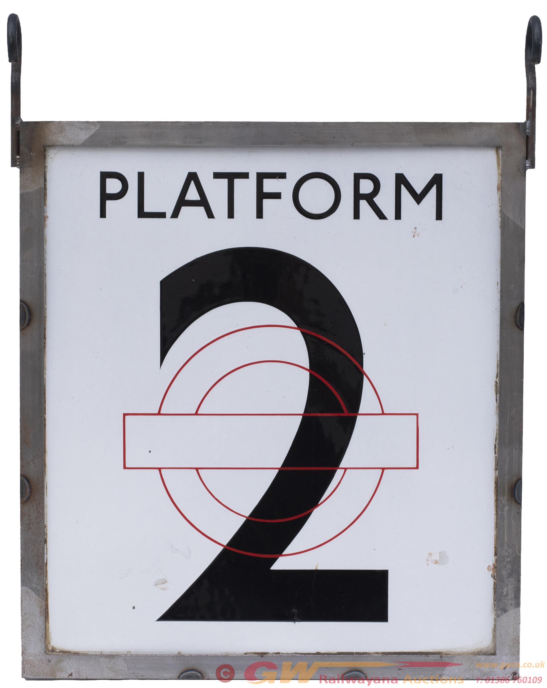 London Underground Enamel Station Sign PLATFORM 2.