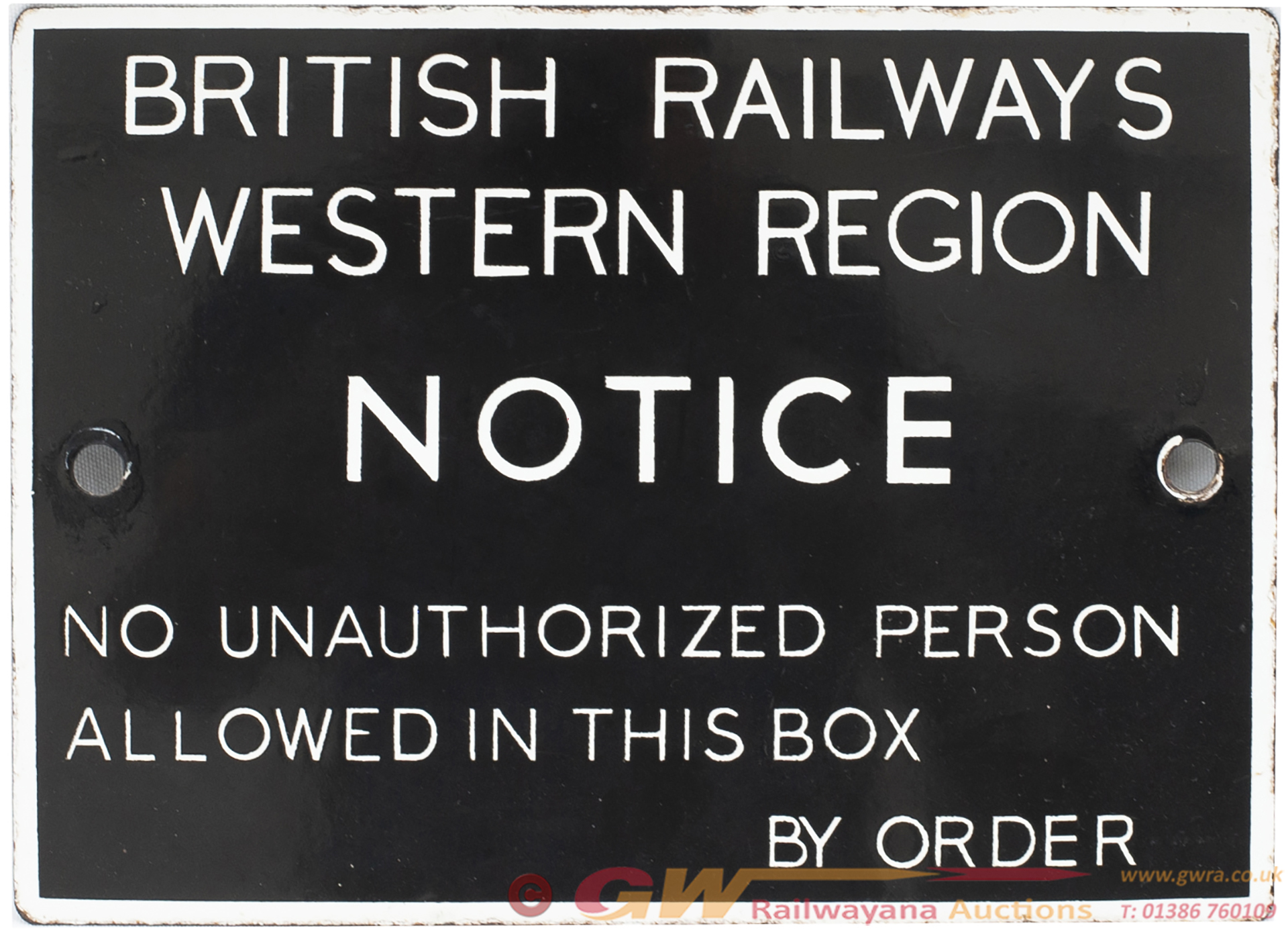 BR(W) Enamel Signal Box Door Notice BRITISH