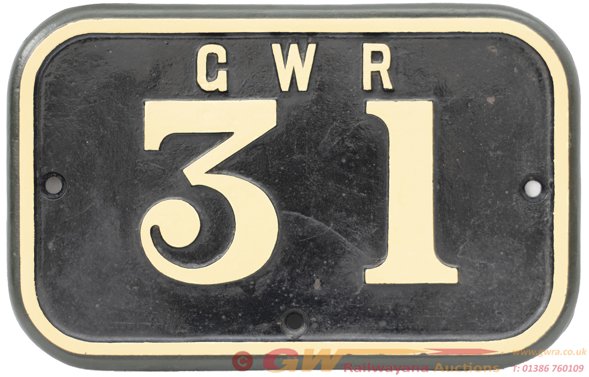 GWR Cast Iron Cabside Numberplate GWR 31 Ex