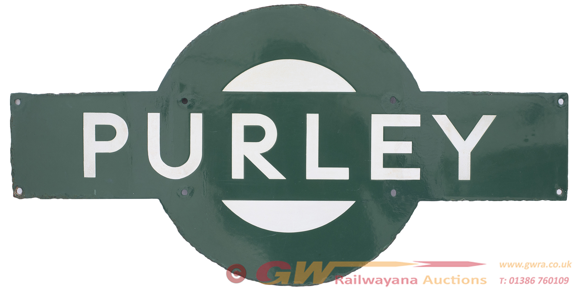 Southern Railway Enamel Target Station Sign PURLEY