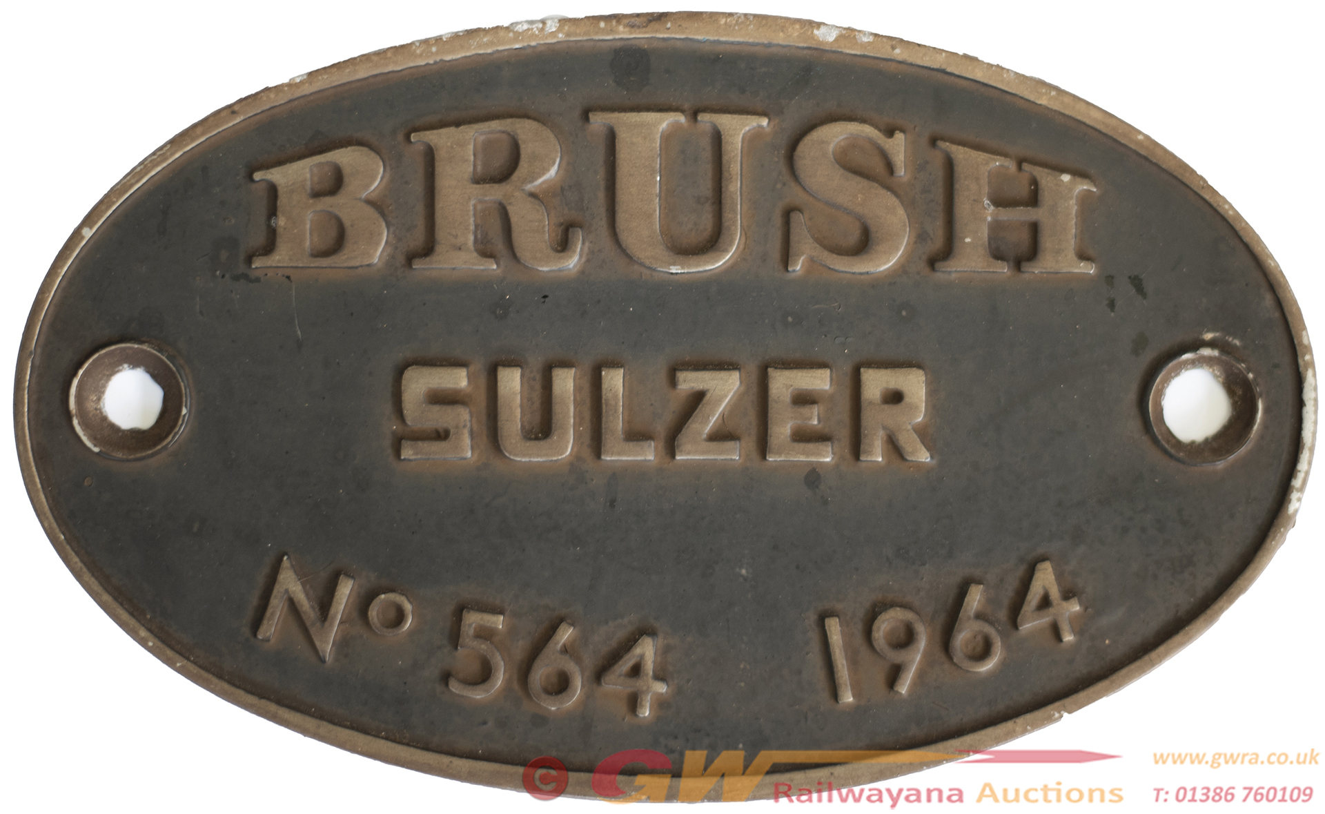 Worksplate BRUSH SULZER no564 1964 Ex British