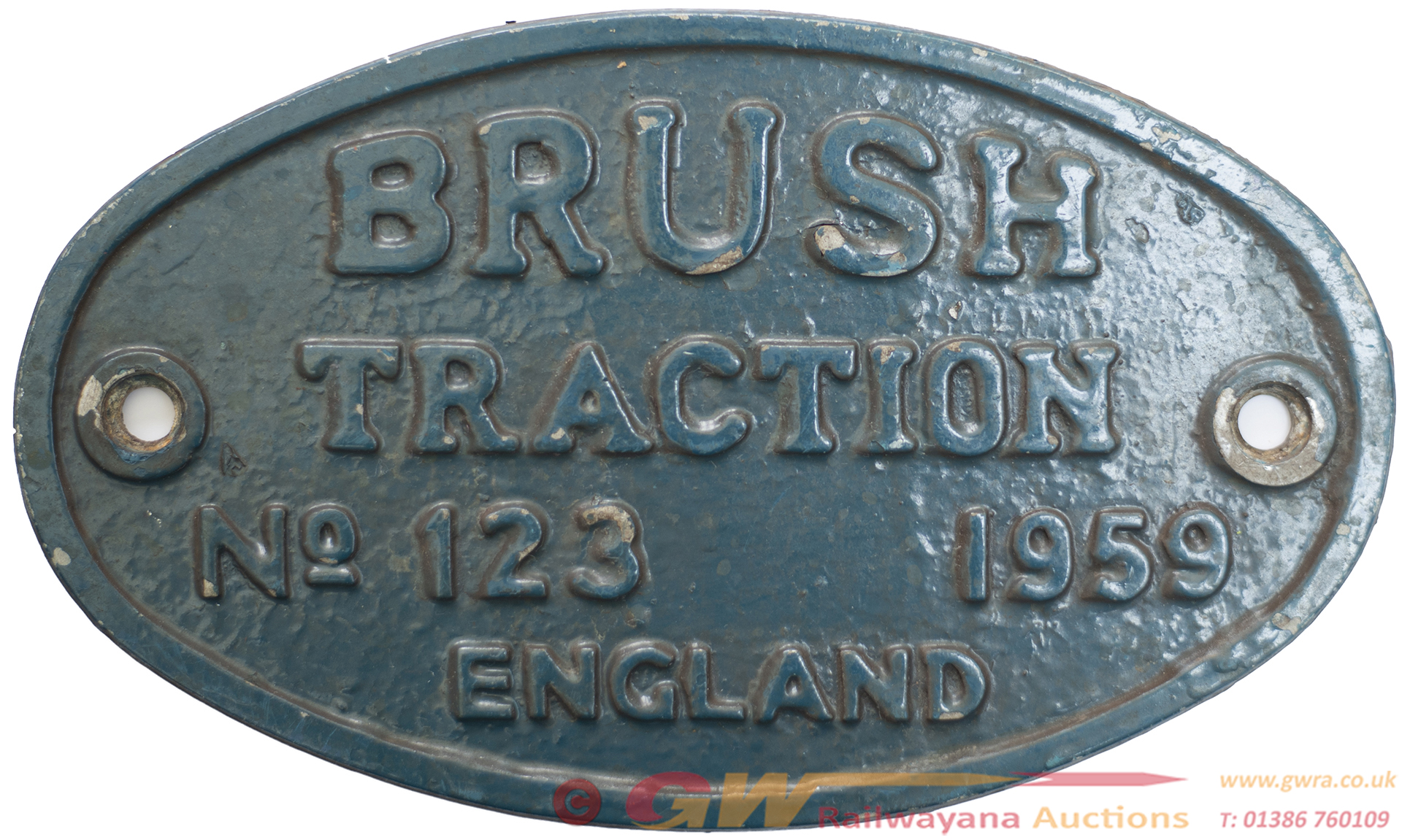 Worksplate BRUSH TRACTION ENGLAND No 123 1959 Ex