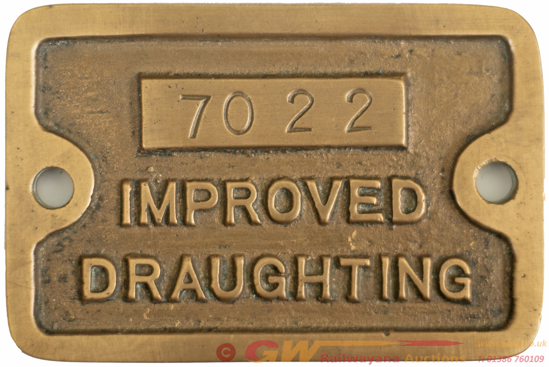 GWR Locomotive Cab Plate IMPROVED DRAUGHTING 7022