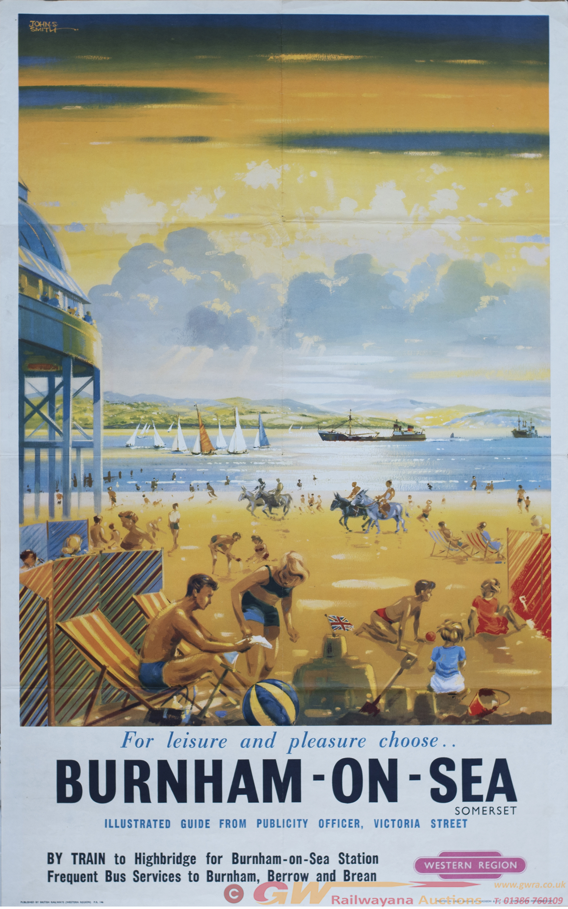 Poster BR(W) BURNHAM-ON-SEA By John S. Smith.