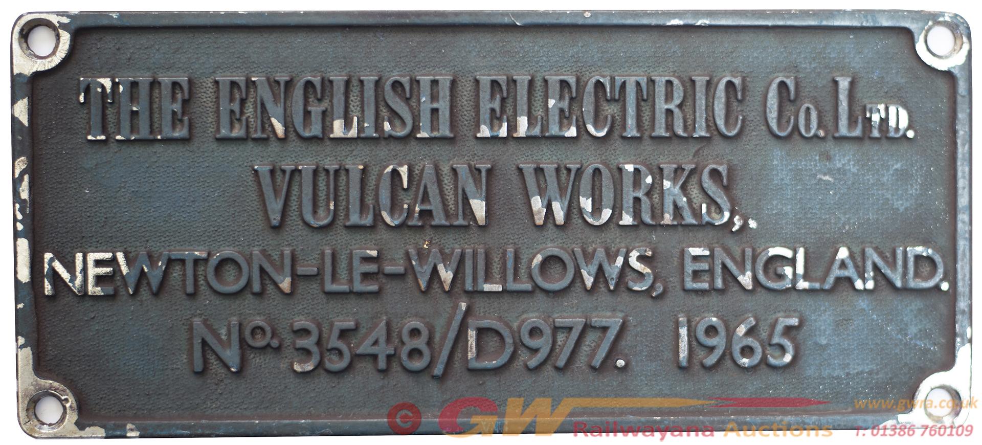 Diesel Worksplate THE ENGLISH ELECTRIC CO LTD
