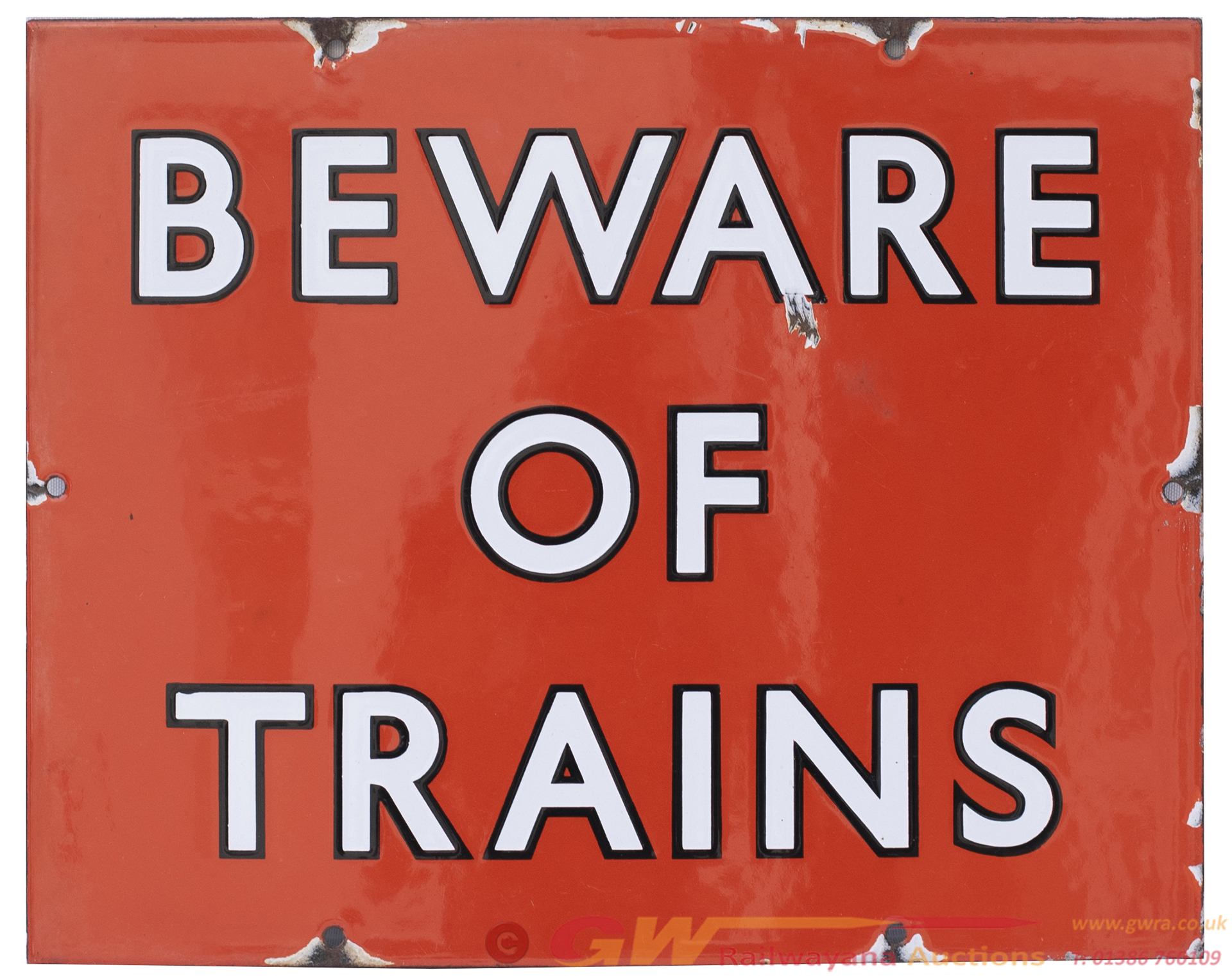 BR(NE) Enamel Railway Sign BEWARE OF TRAINS With