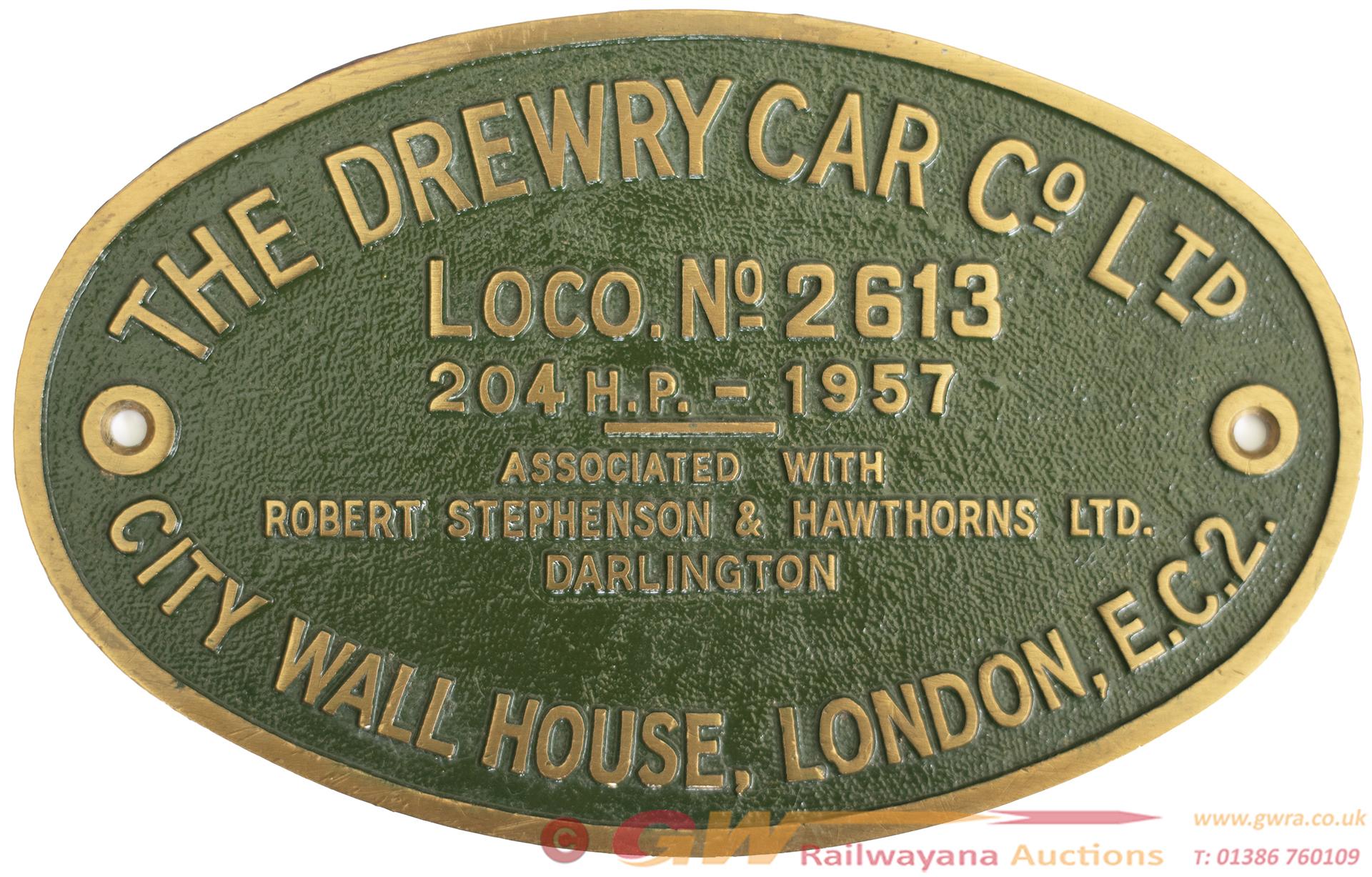 Worksplate 'THE DREWRY CAR CO LTD CITY WALL HOUSE,