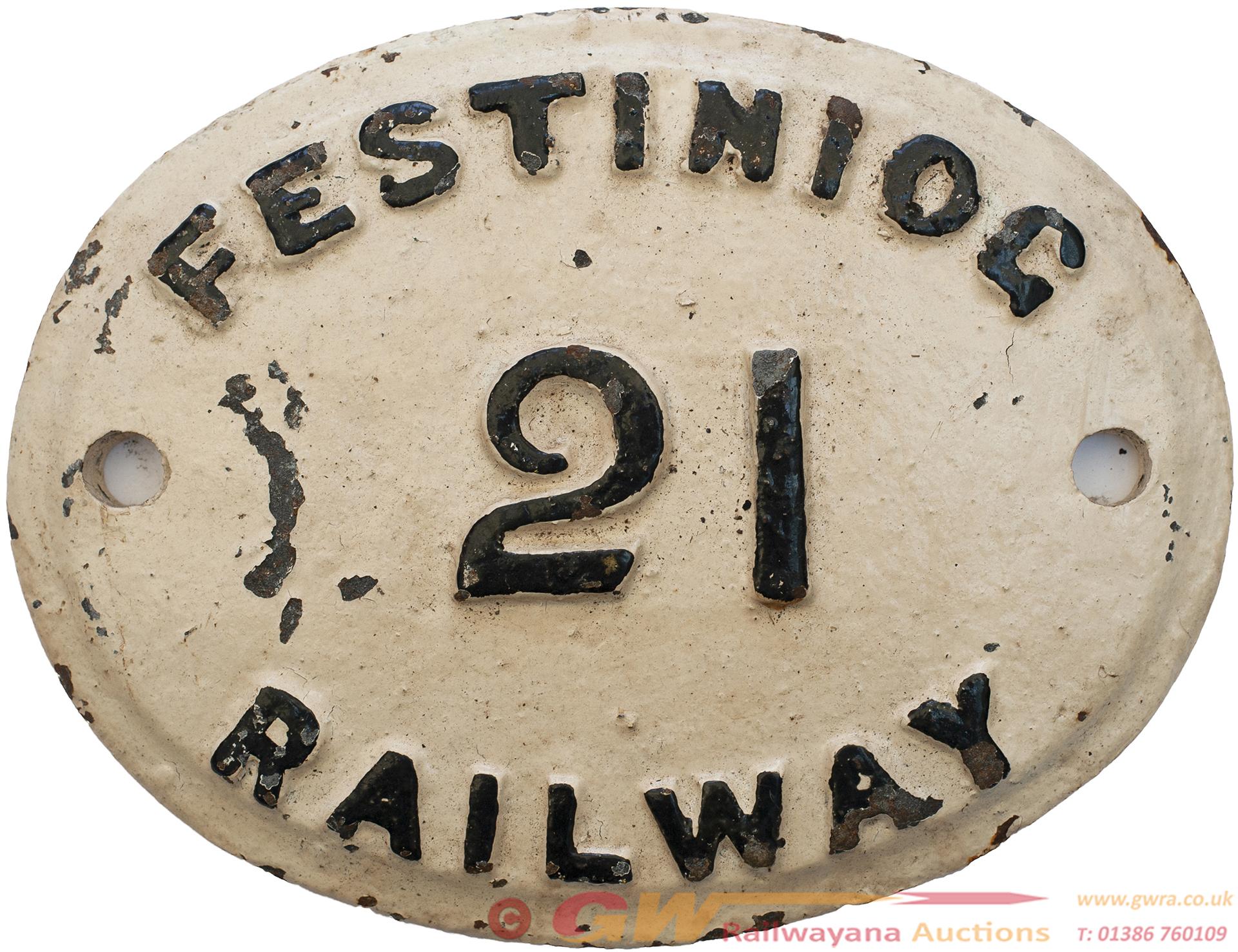 Festiniog Railway Wagonplate Number 21. Oval Cast