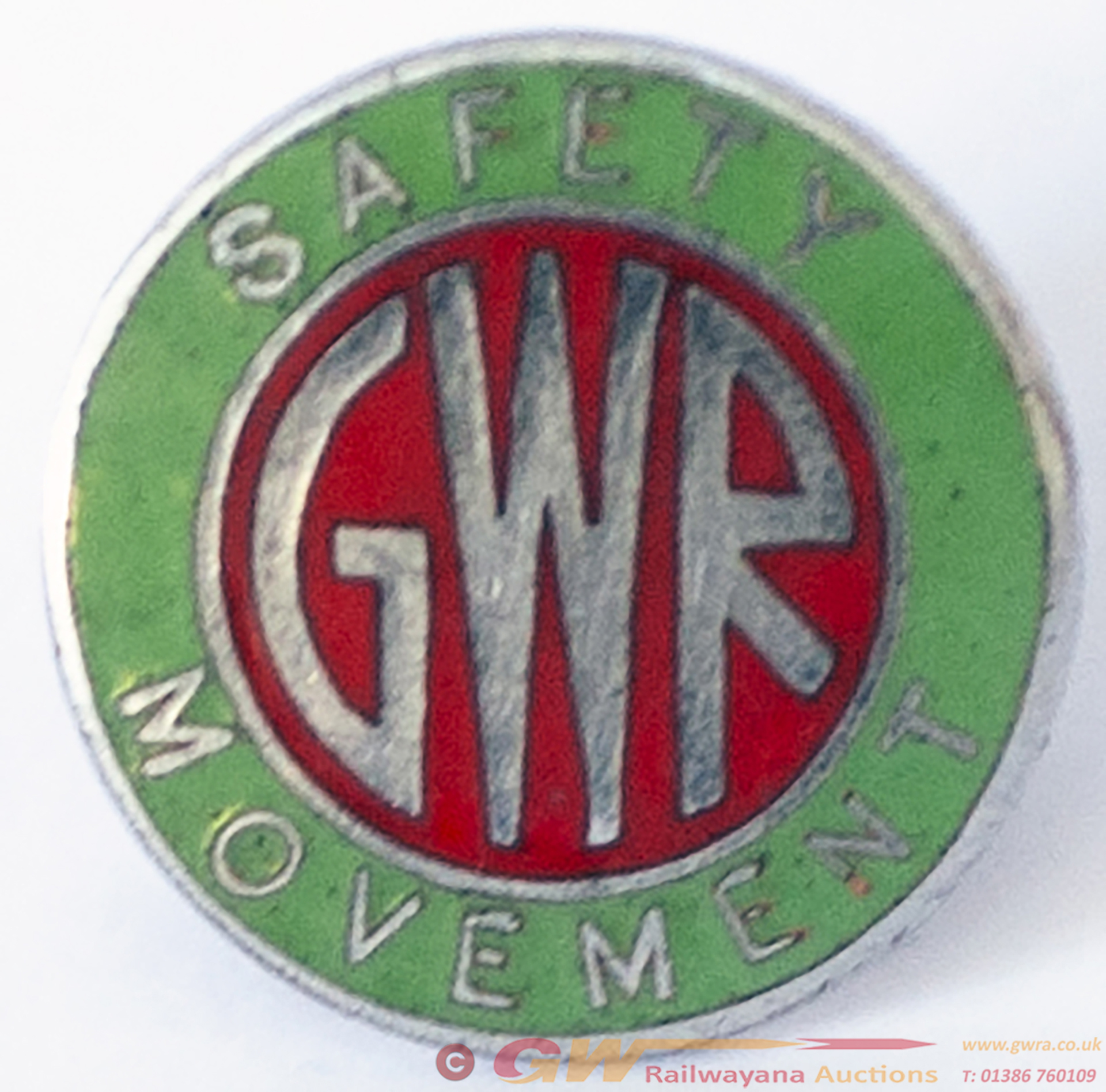 GWR Lapel Badge Enamelled GWR SAFETY MOVEMENT,