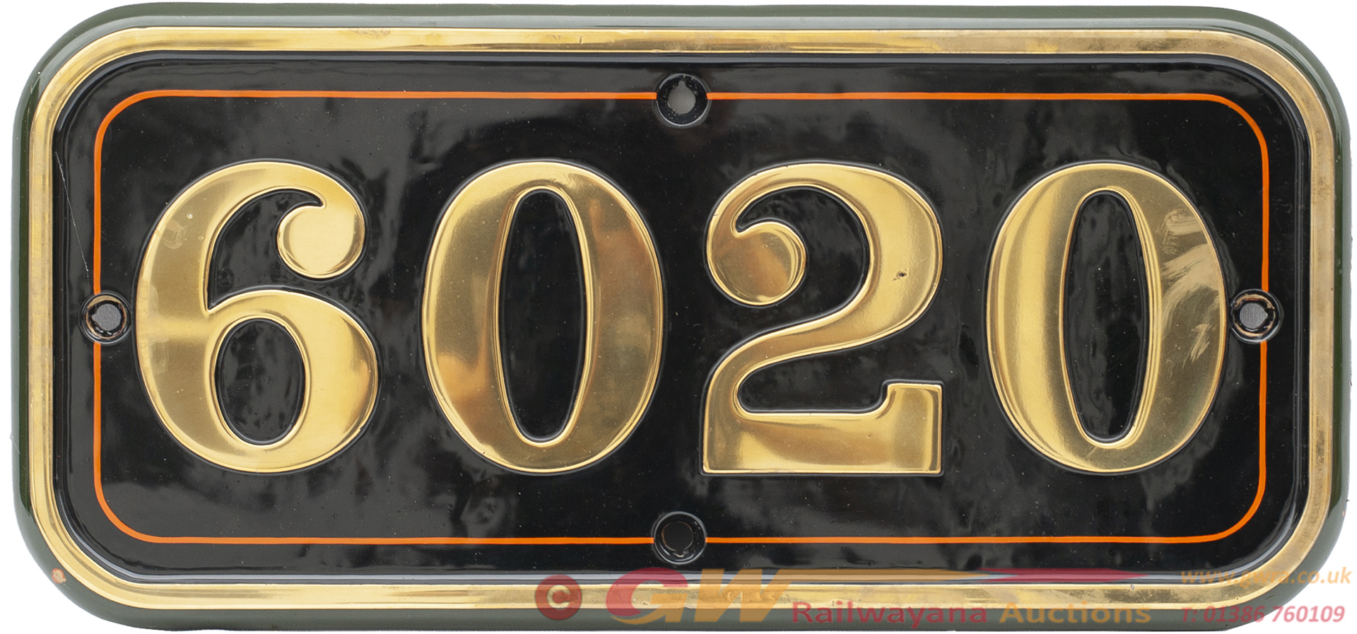 GWR Brass Cabside Numberplate 6020 Ex Collett King