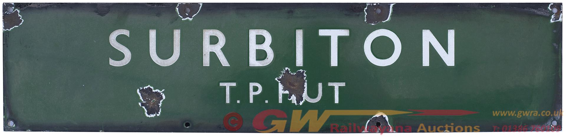 BR(S) Enamel Railway Sign SURBITON T. P. HUT. In