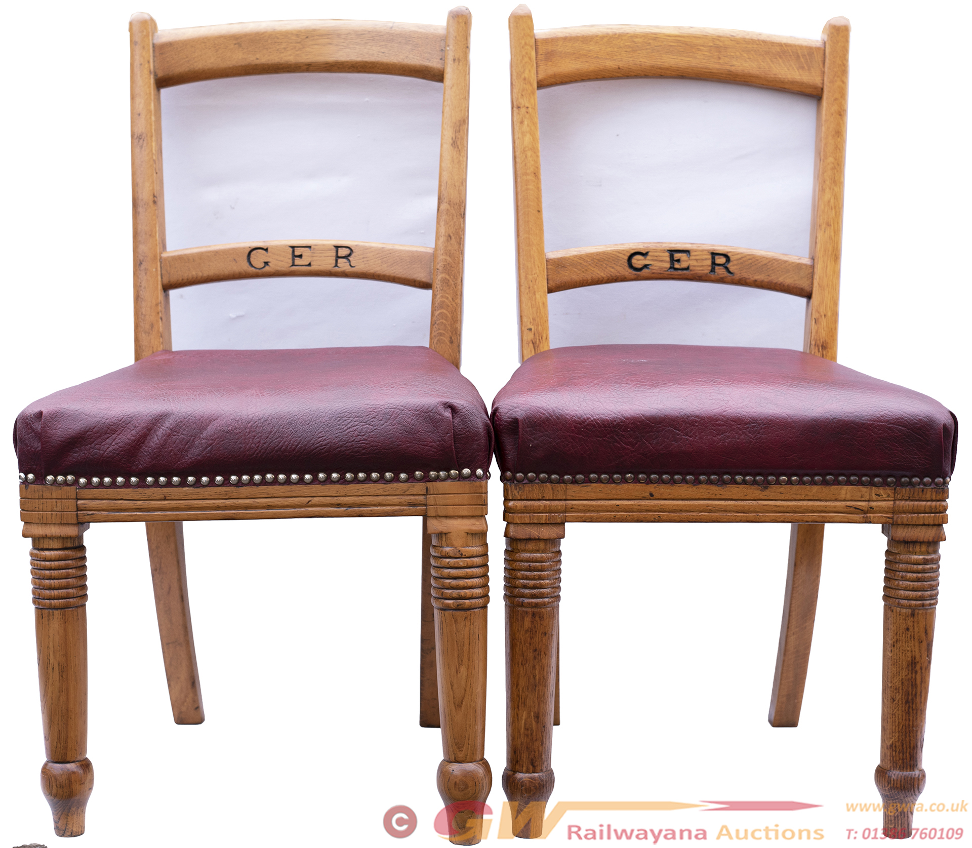 A Pair Of Oak Great Eastern Railway Chairs, Nicely