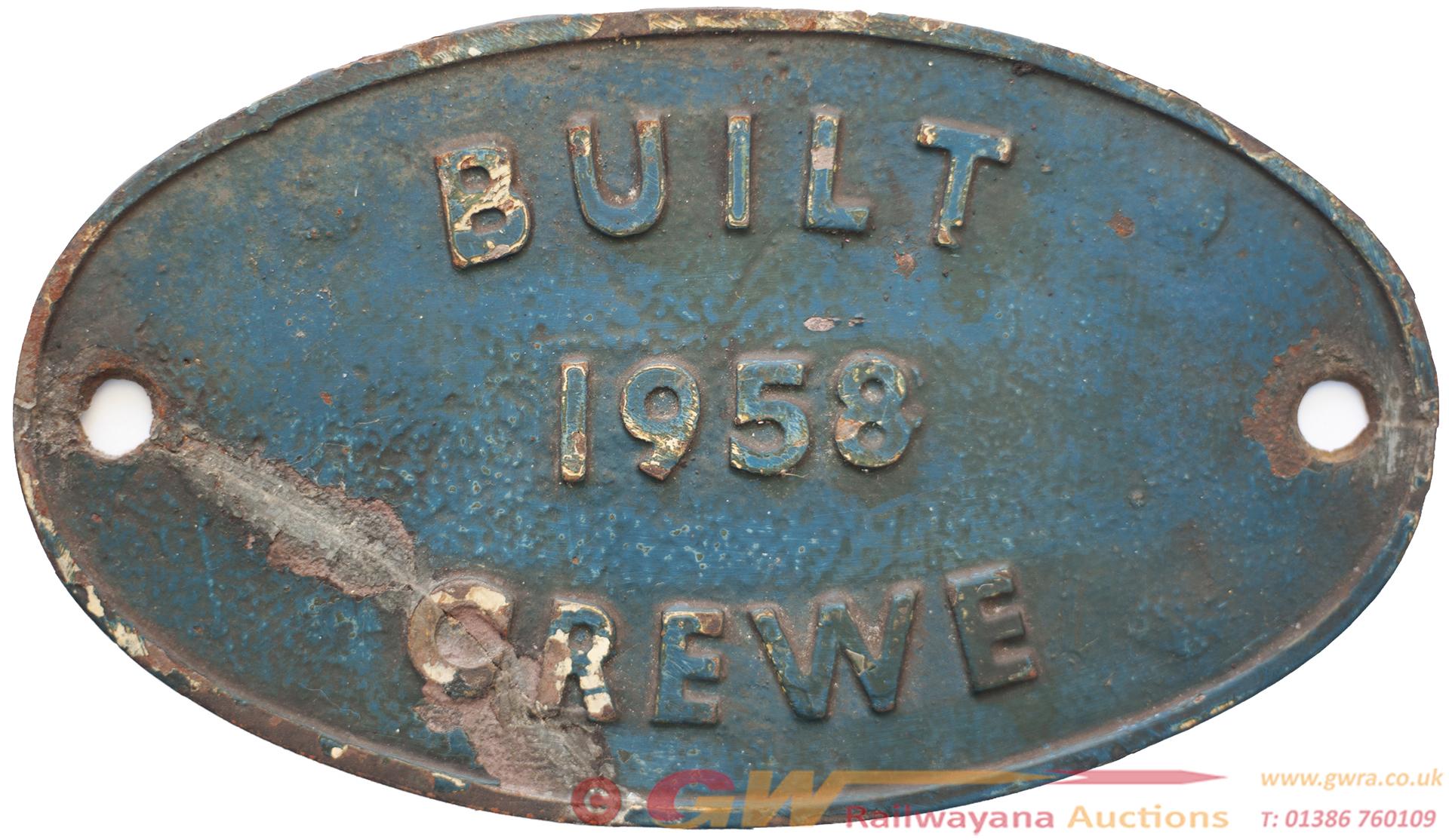 Worksplate BUILT 1958 CREWE Ex British Railways
