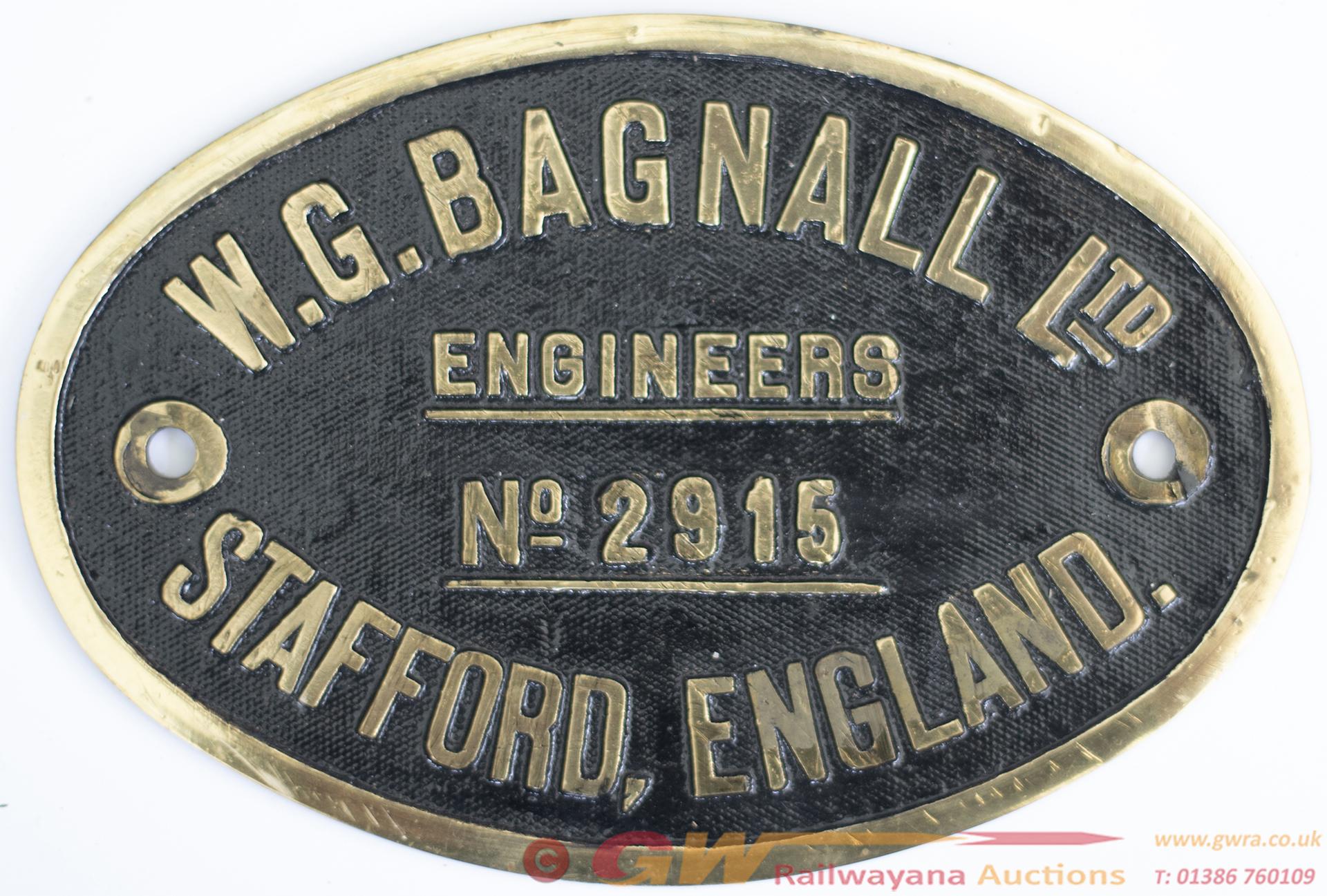 Worksplate W.G.BAGNALL LTD ENGINEERS STAFFORD