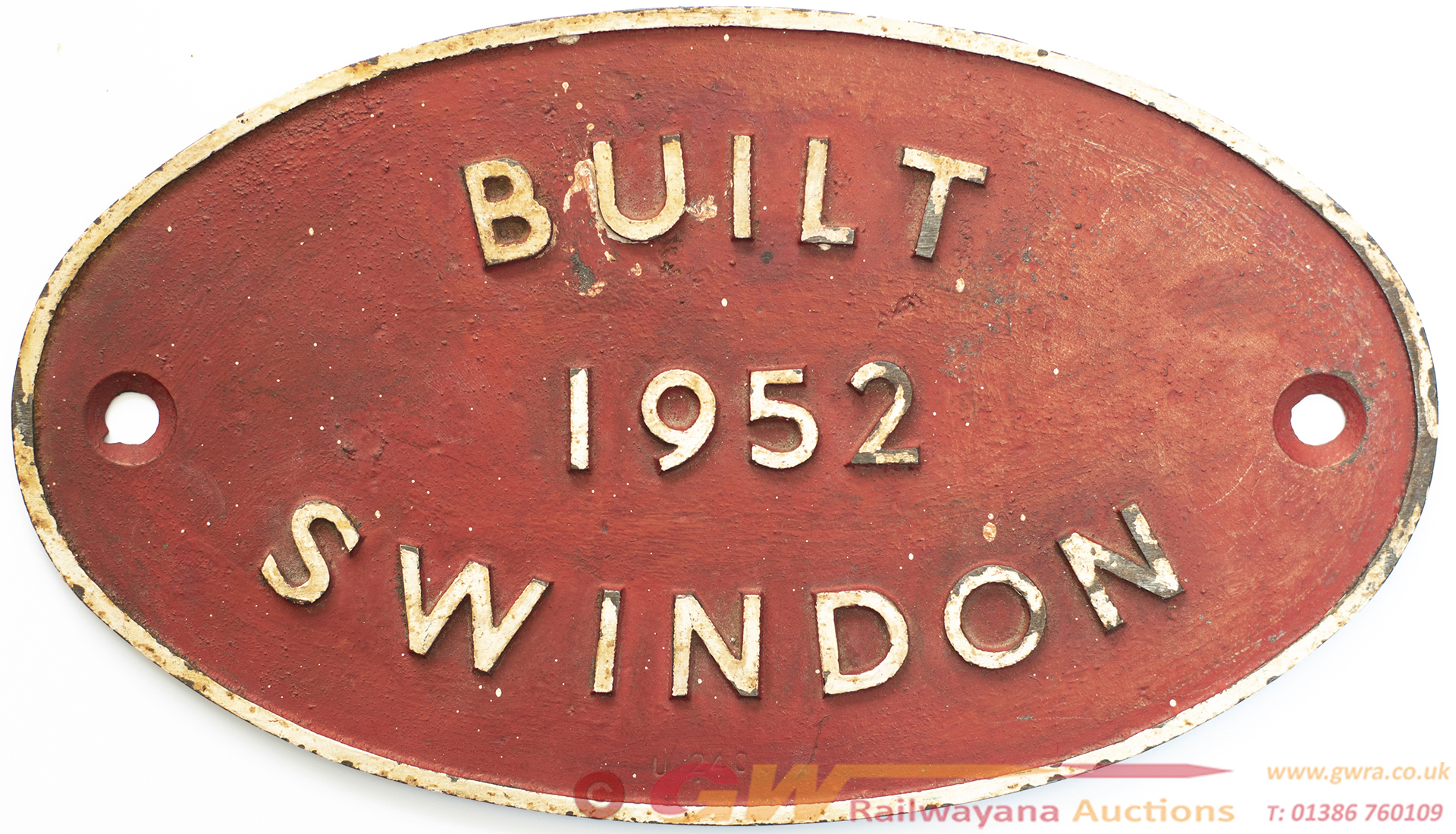 Worksplate BUILT 1952 SWINDON Ex British Railways