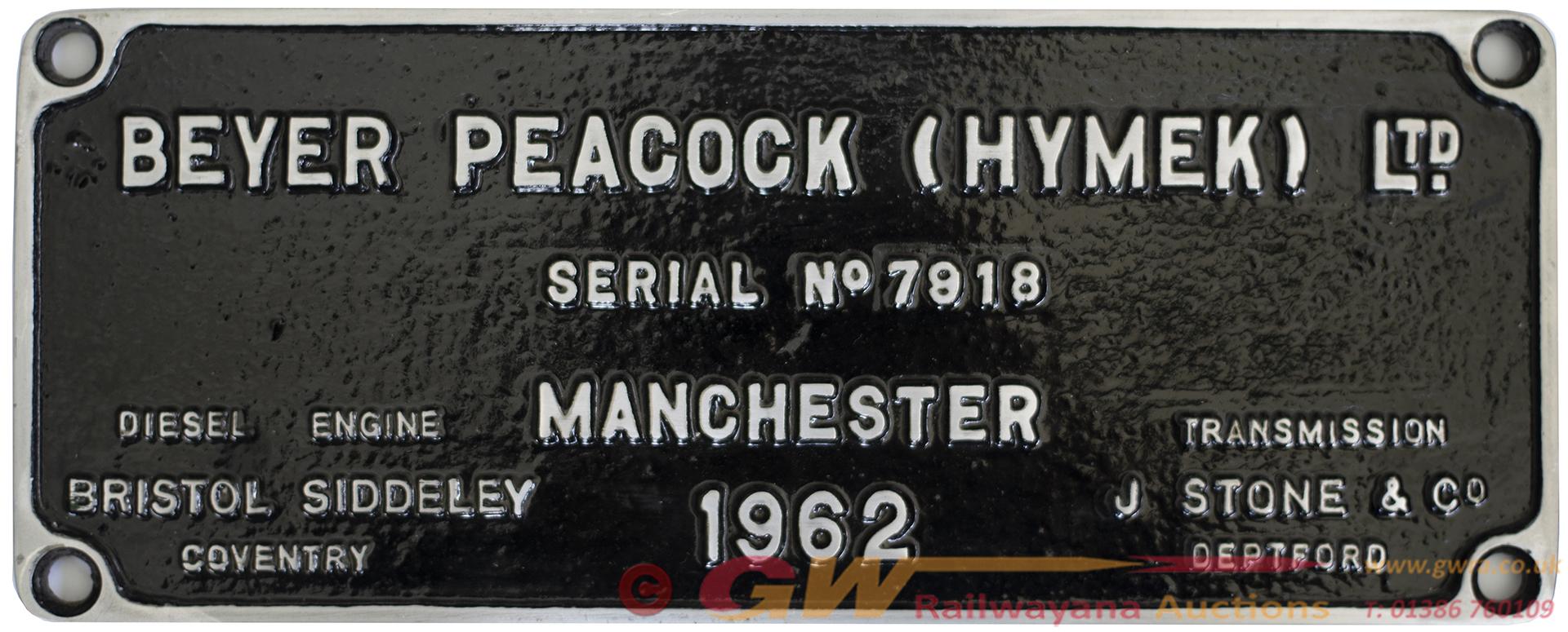 Worksplate BEYER PEACOCK (HYMEK) LTD MANCHESTER