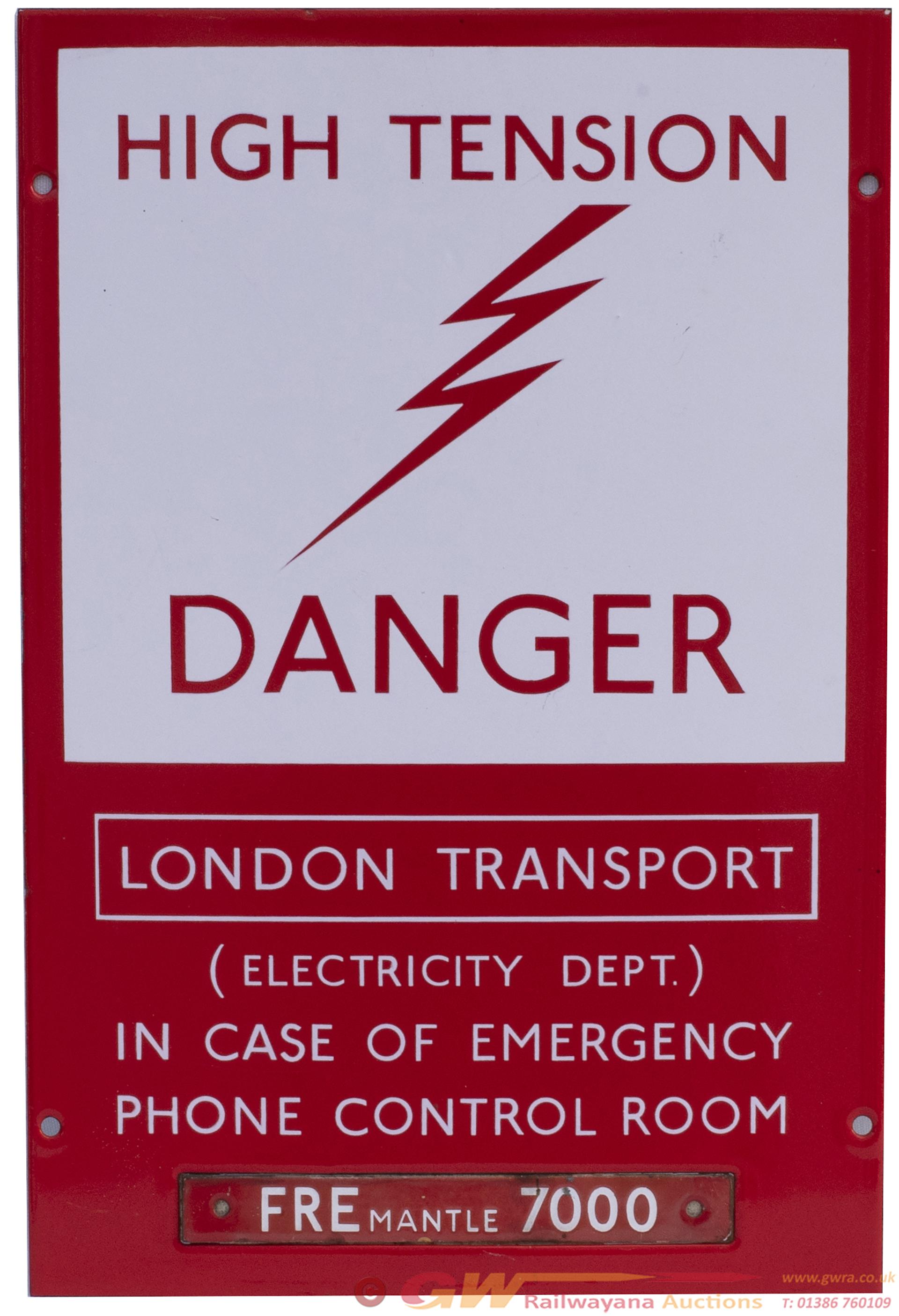 London Underground Enamel Sign HIGH TENSION DANGER