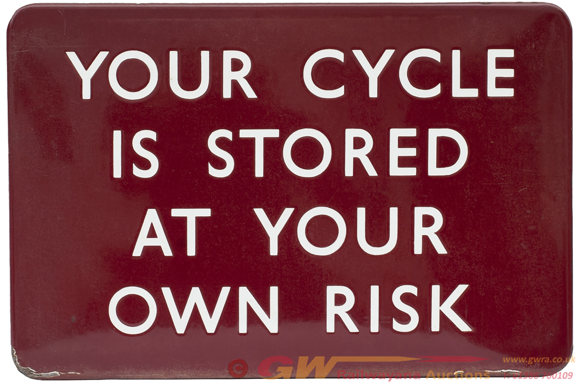 BR(M) FF Enamel Railway Sign YOUR CYCLE IS STORED