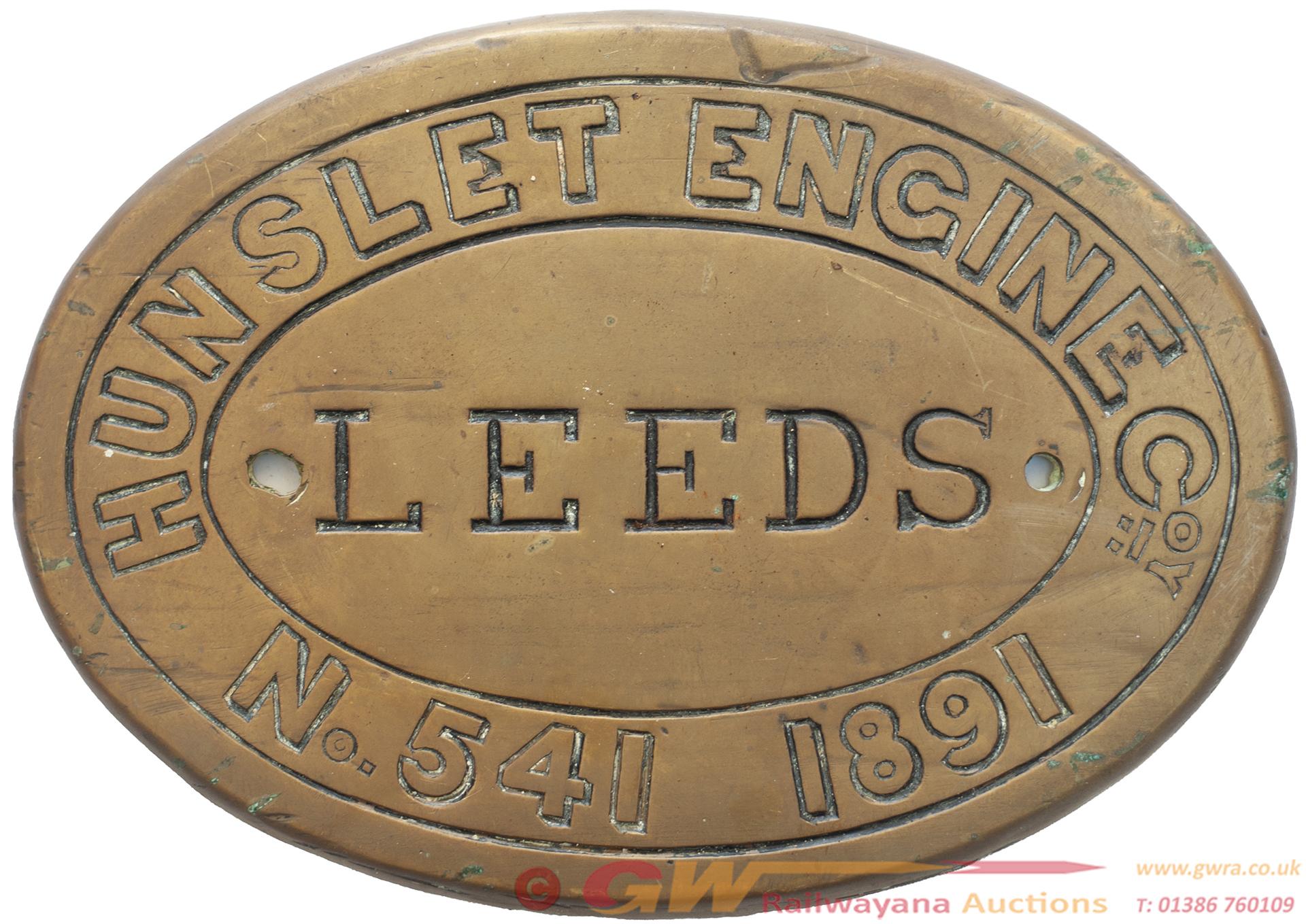 Worksplate HUNSLET ENGINE Coy LEEDS No 541 1891 Ex
